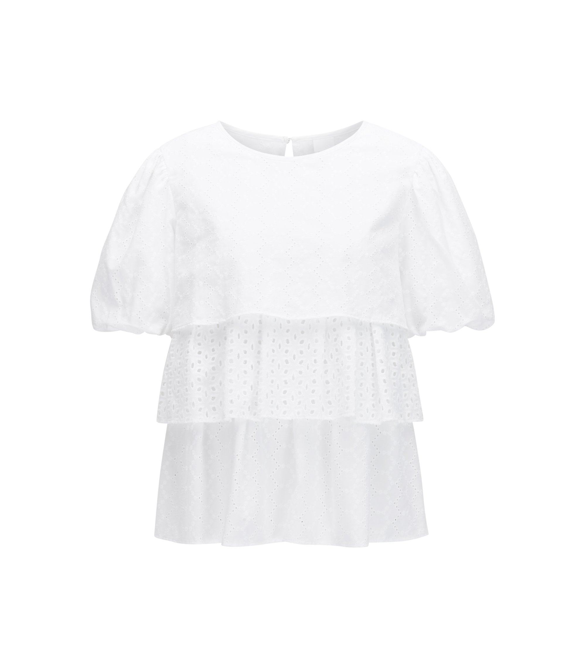 Tiered broderie anglaise top in cotton voile, White