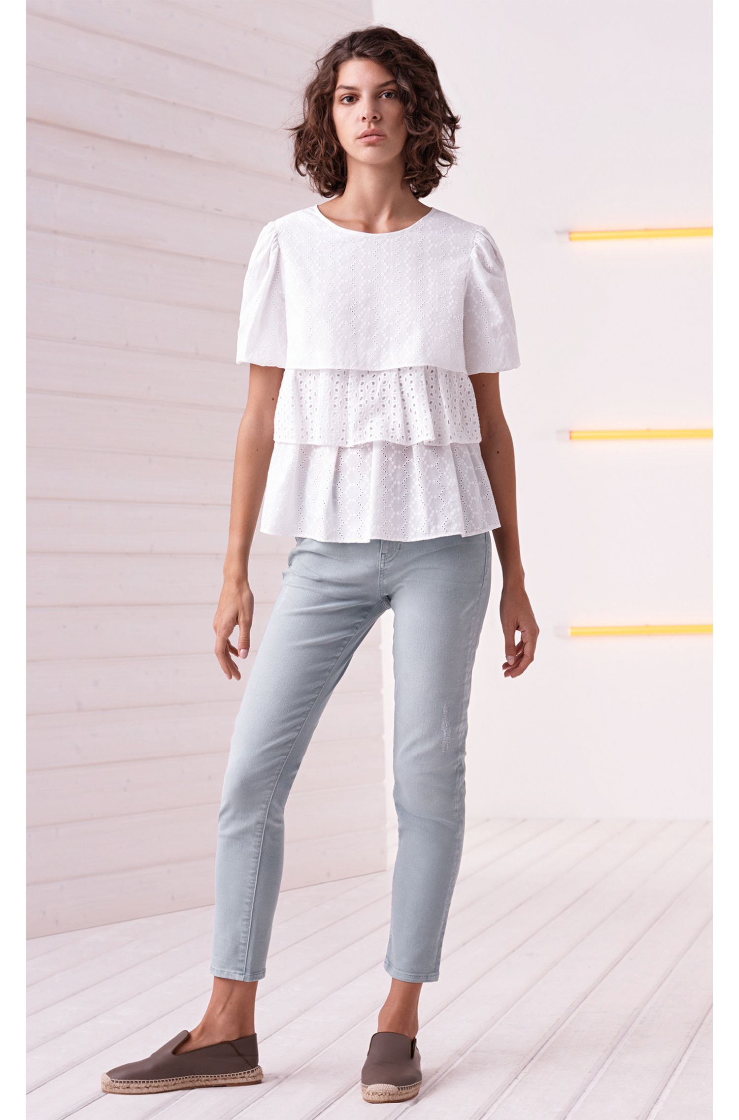 Tiered broderie anglaise top in cotton voile