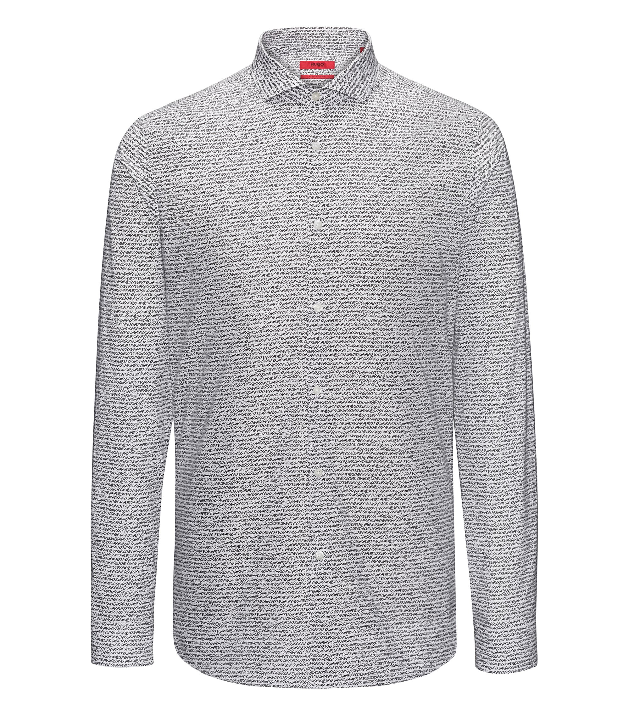 Extra-slim-fit cotton shirt with handwritten pigment print, Patterned