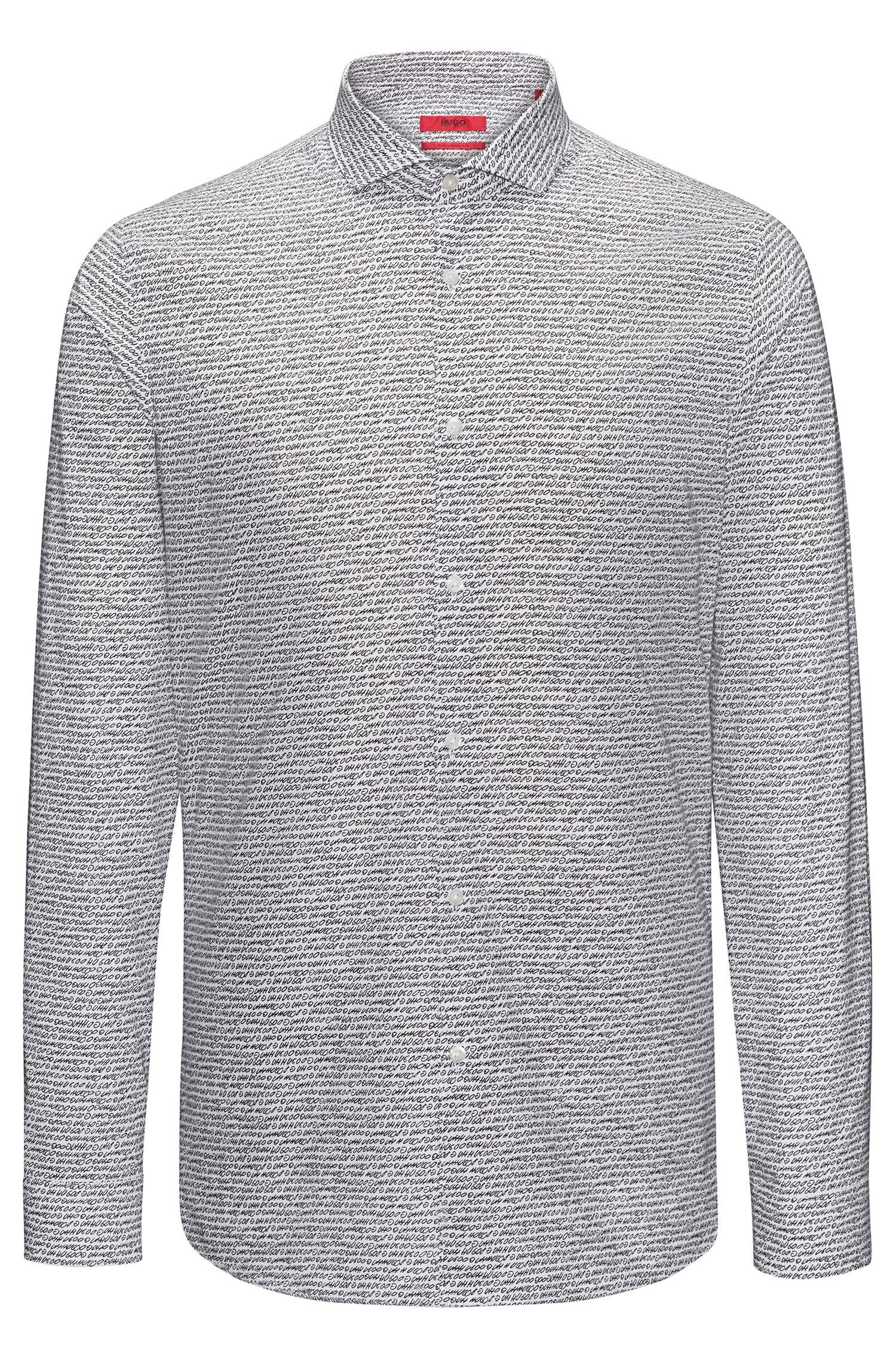 Extra Slim-Fit Hemd aus Baumwolle mit Pigmentdruck