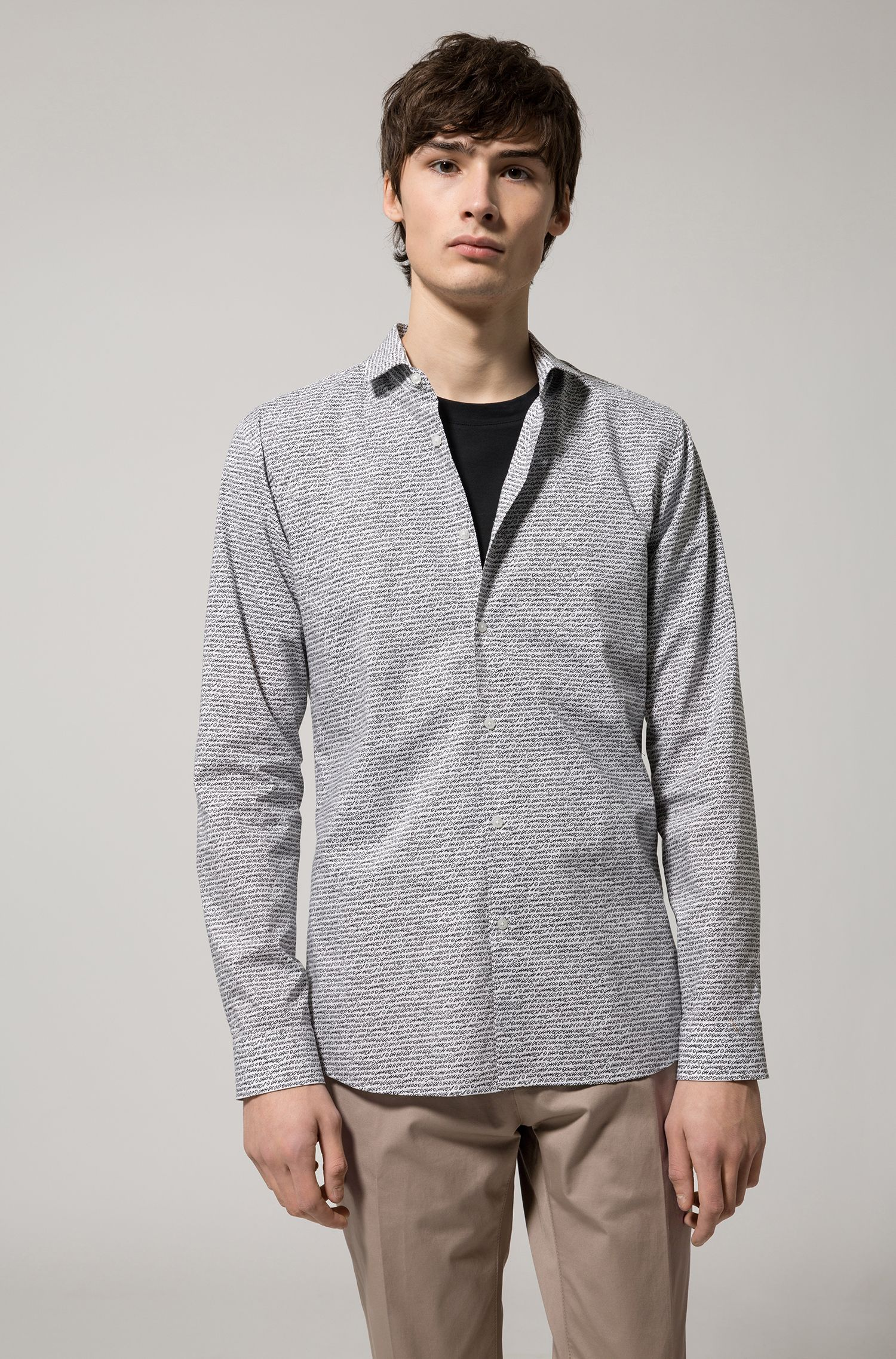 Extra-slim-fit cotton shirt with handwritten pigment print