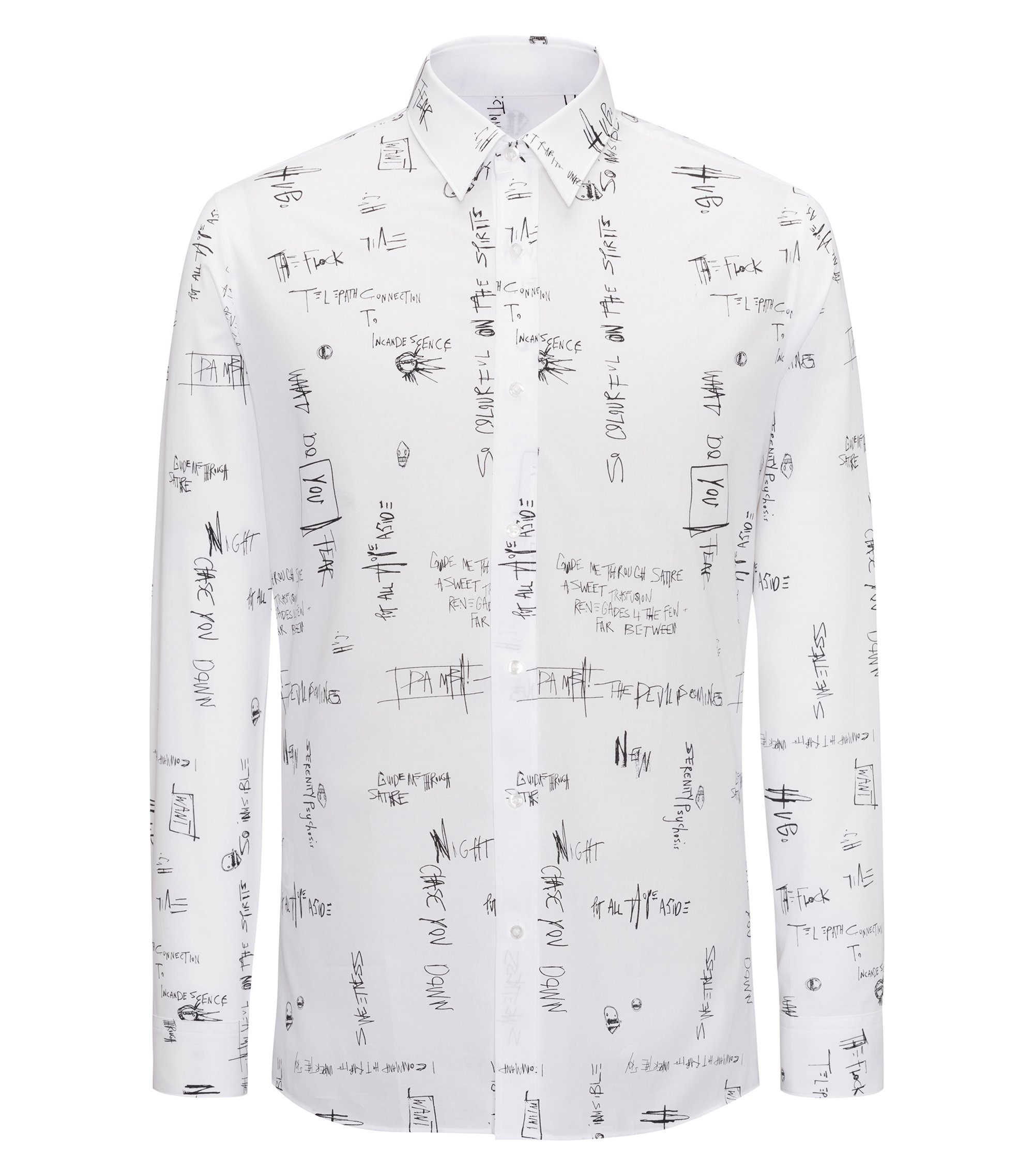 Slogan-printed cotton shirt in an extra-slim fit, White