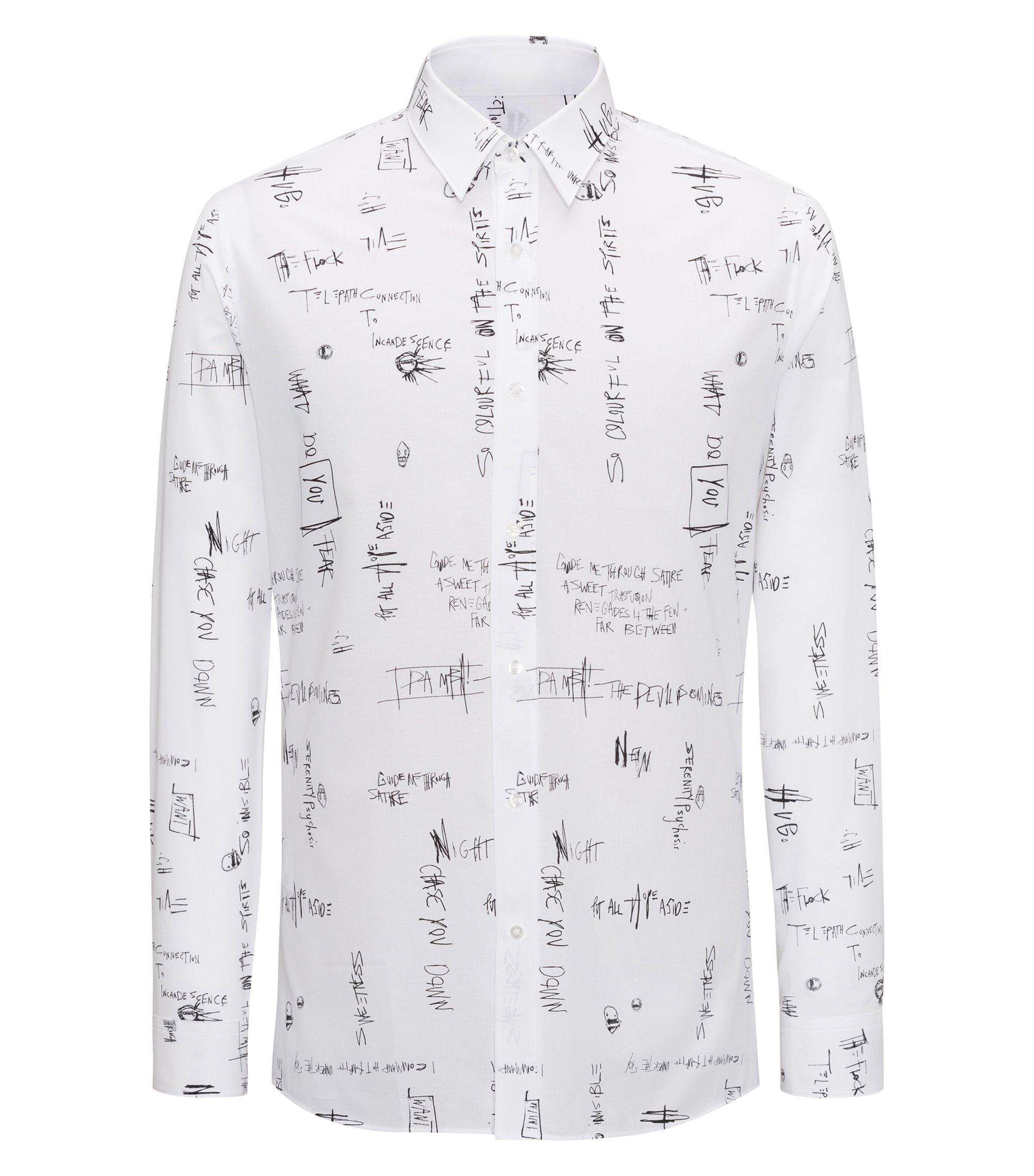 Extra Slim-Fit Hemd aus Baumwolle mit Slogan-Print, Weiß