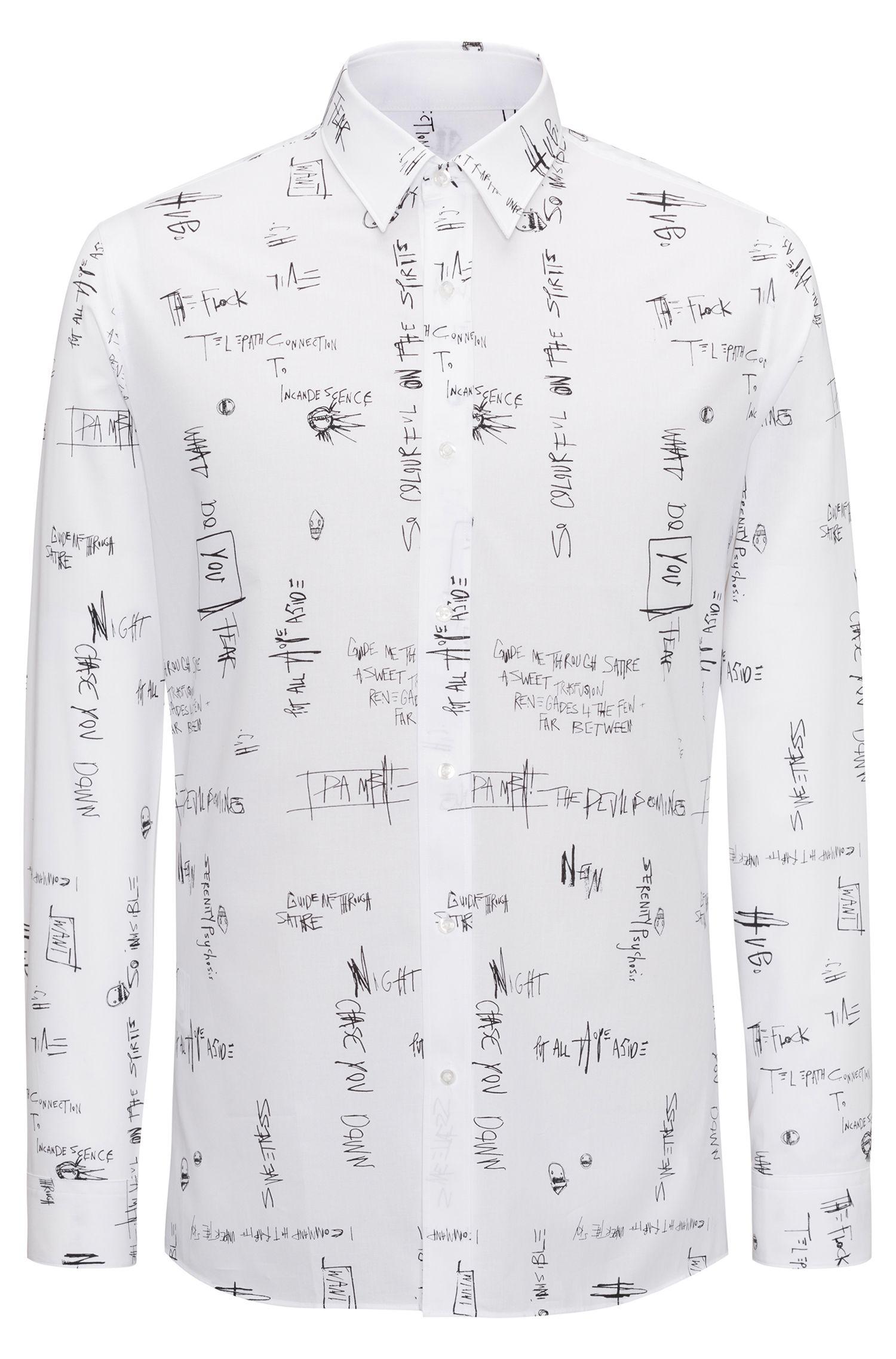 Camisa extra slim fit en algodón con eslogan estampado