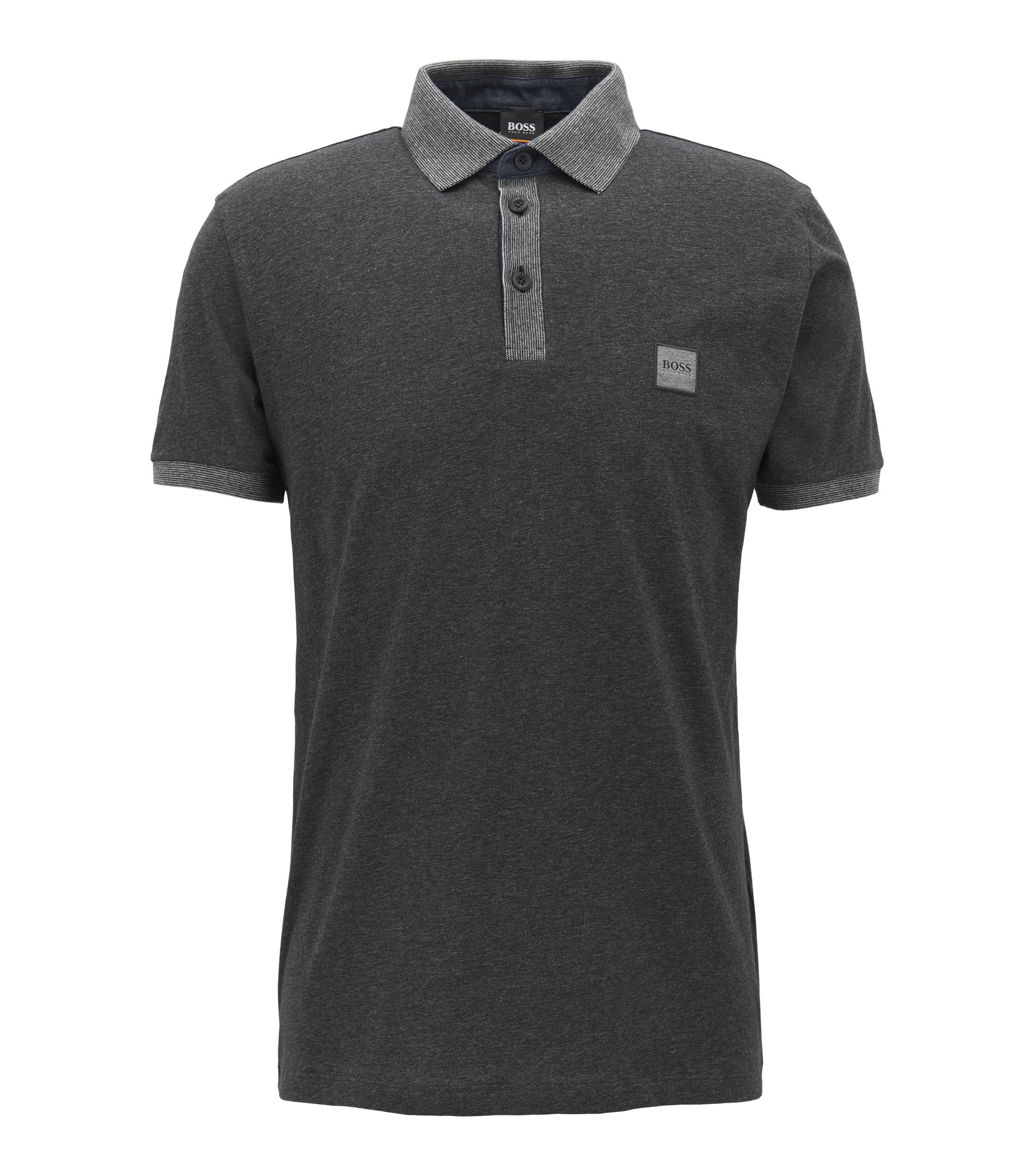 Cotton polo shirt with contrasts, Black