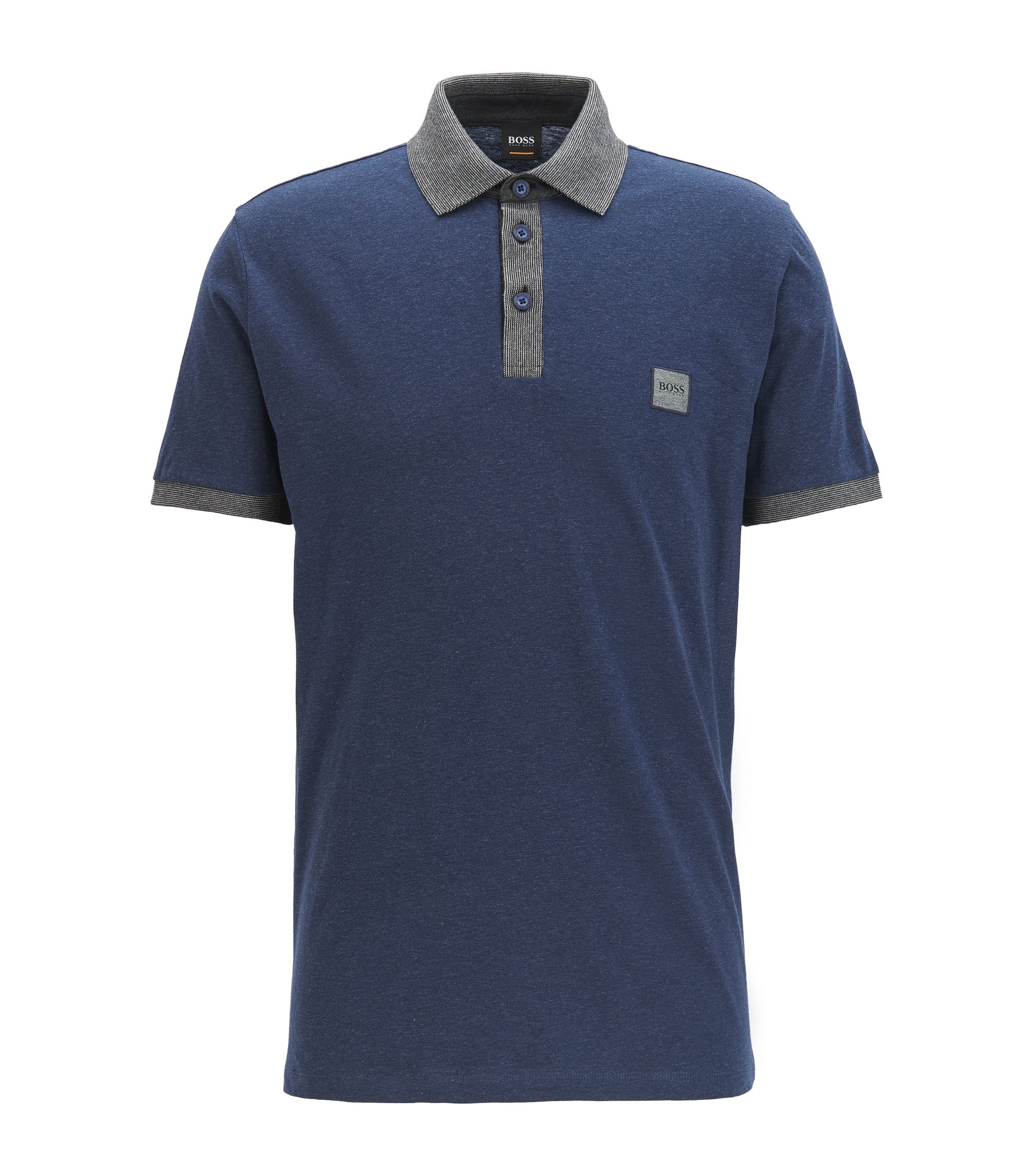 Cotton polo shirt with contrasts, Dark Blue