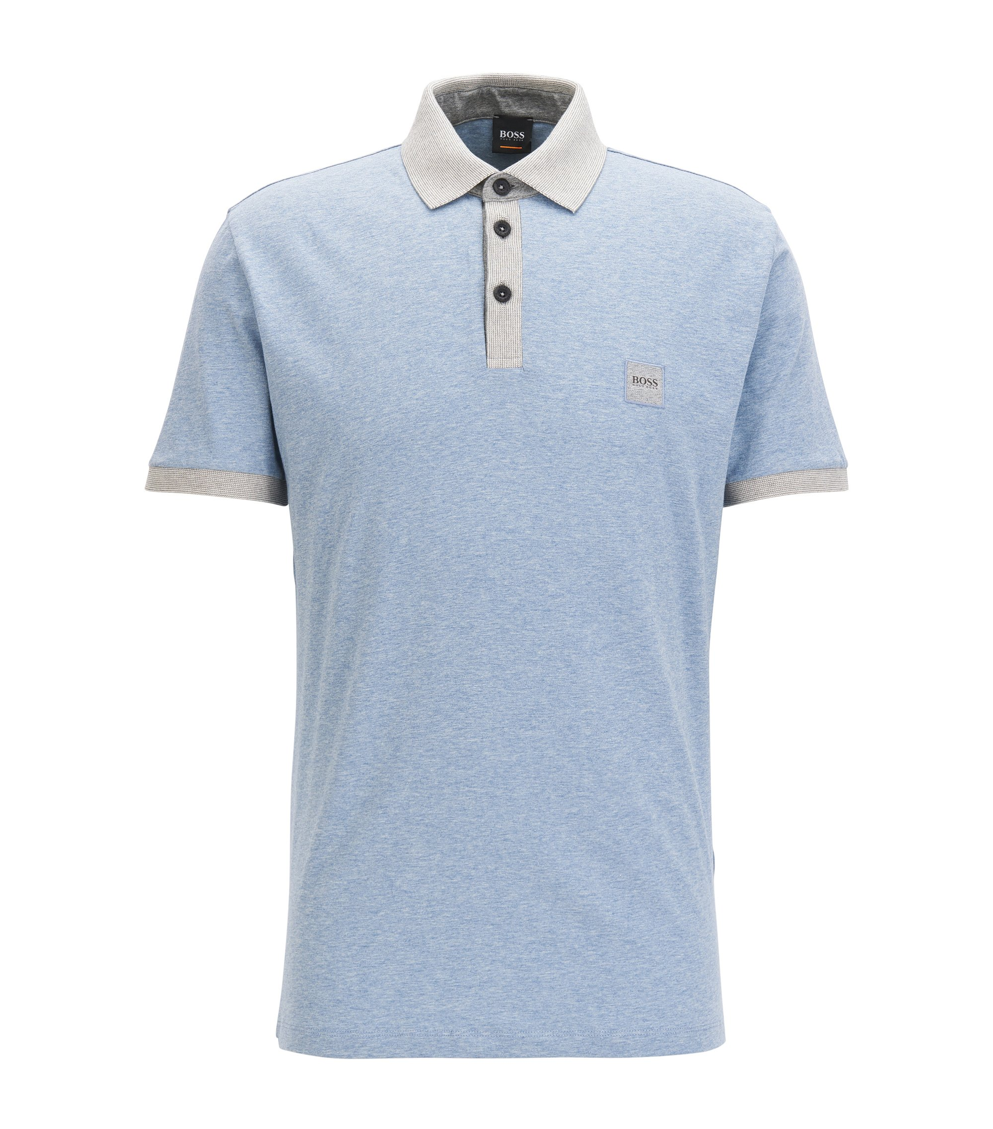Cotton polo shirt with contrasts, Light Blue