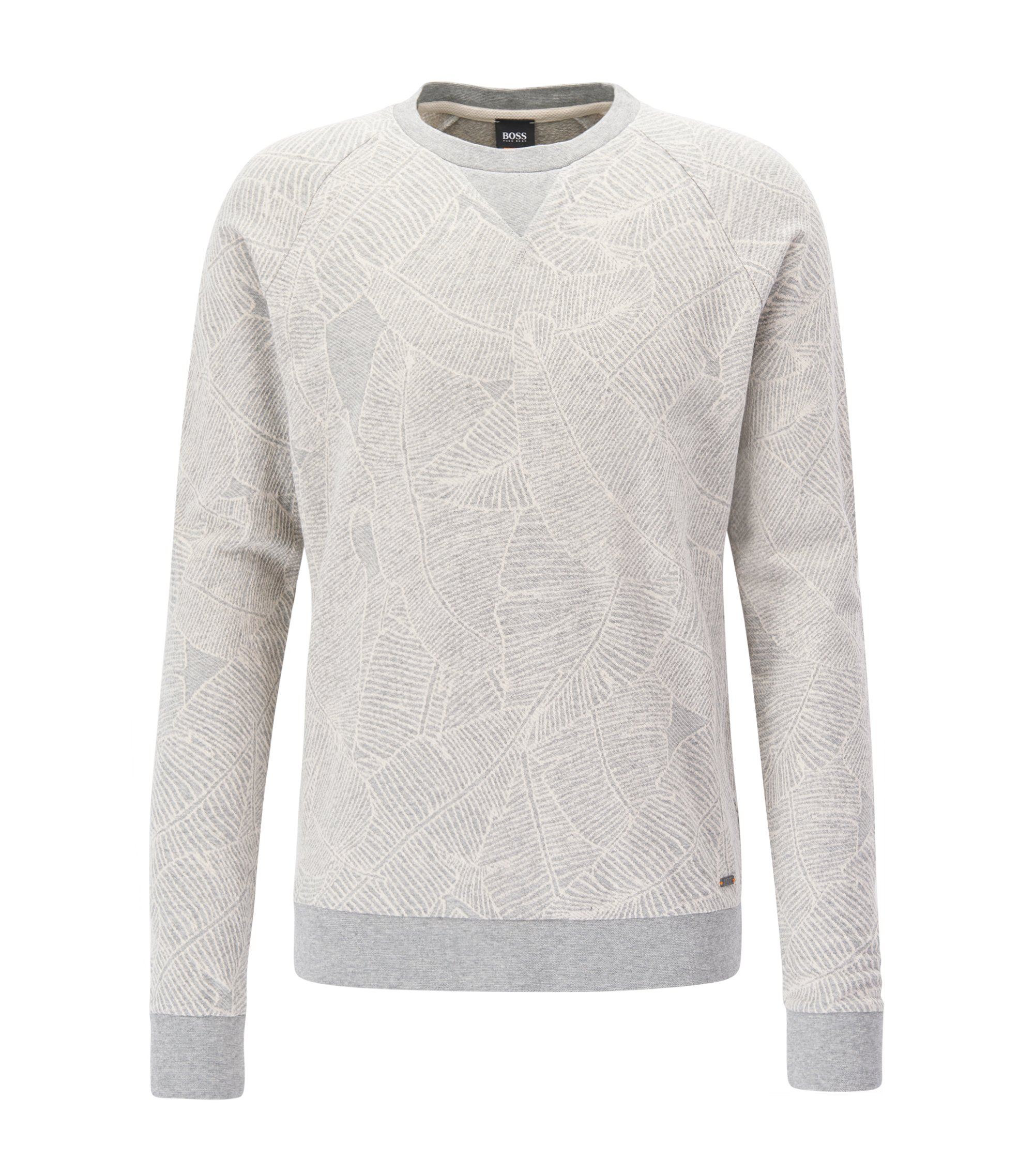 Crew-neck cotton sweater with banana-leaf pattern, Grey