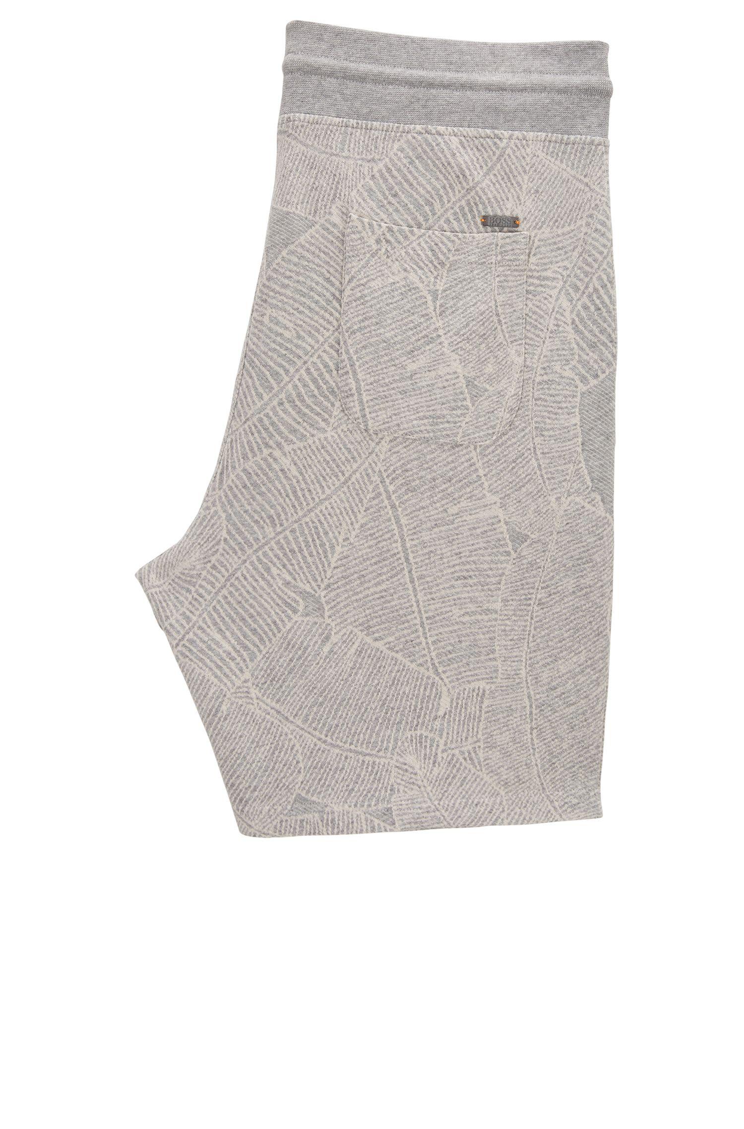 Short à motif en coton molletonné French Terry tissé-teint
