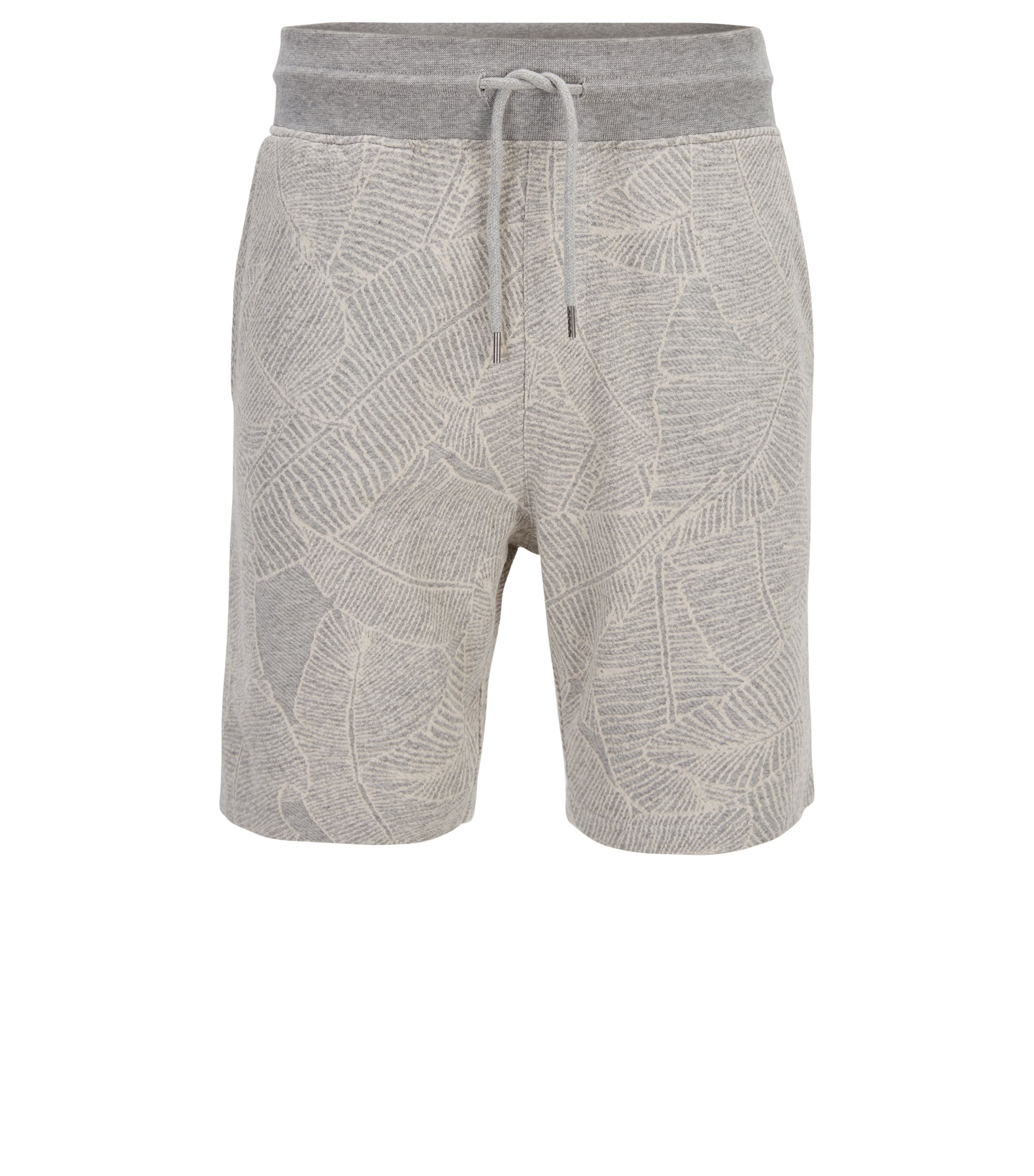 Patterned shorts in yarn-dyed cotton terry, Grey