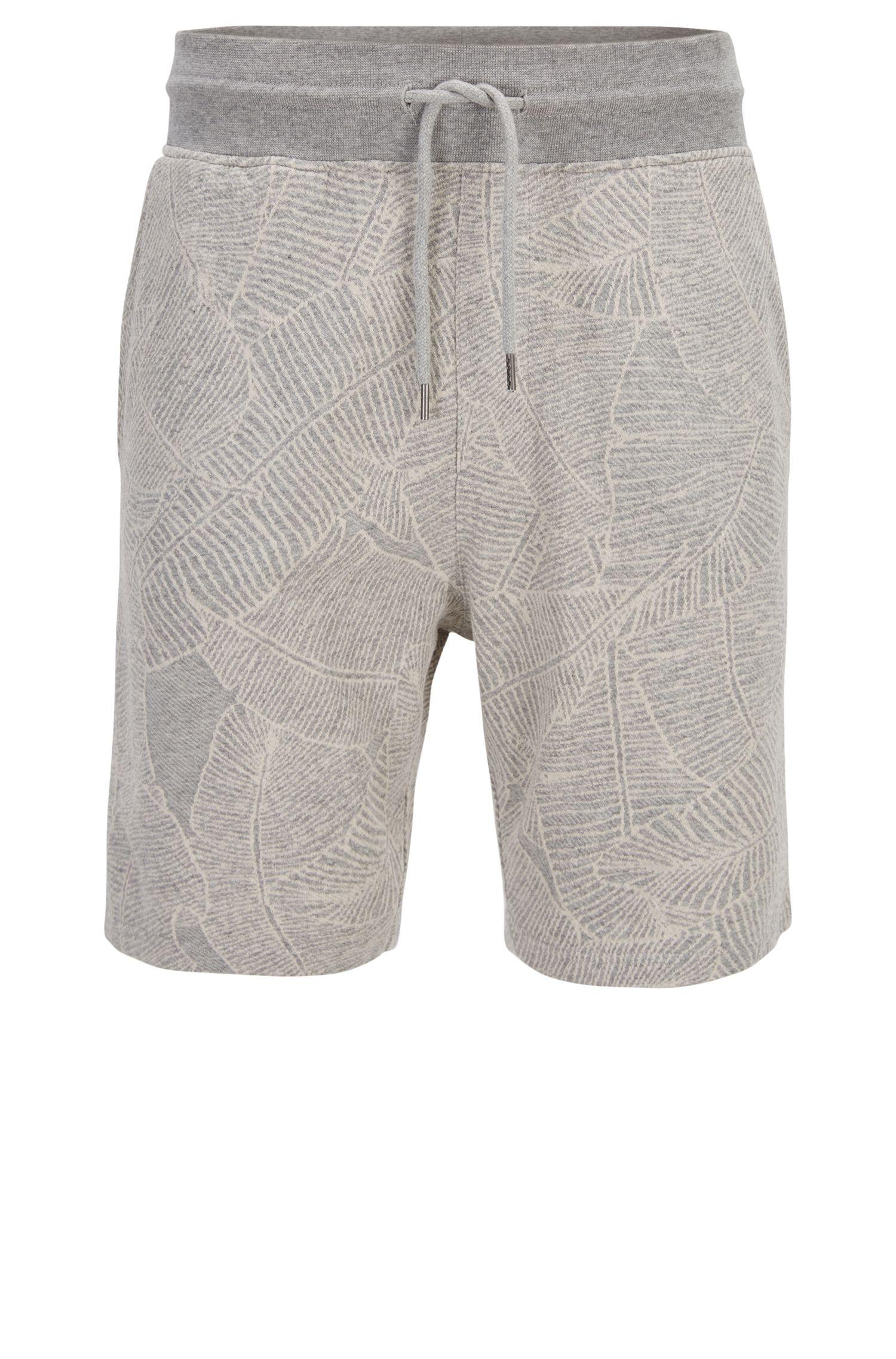 Pantaloncini a disegni in cotone terry tinto in filo
