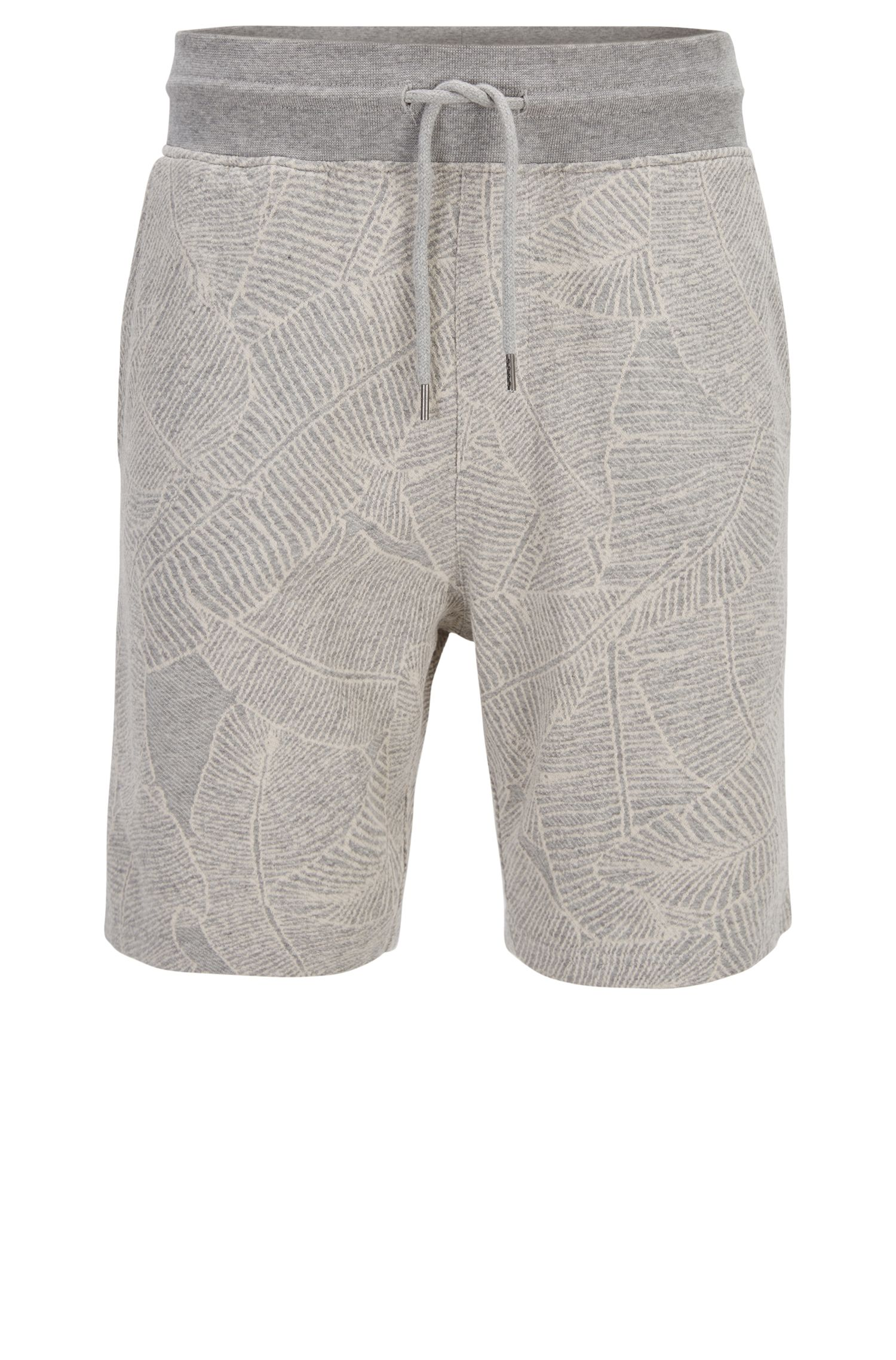 Short à motif en coton molletonné French Terry tissé-teint
