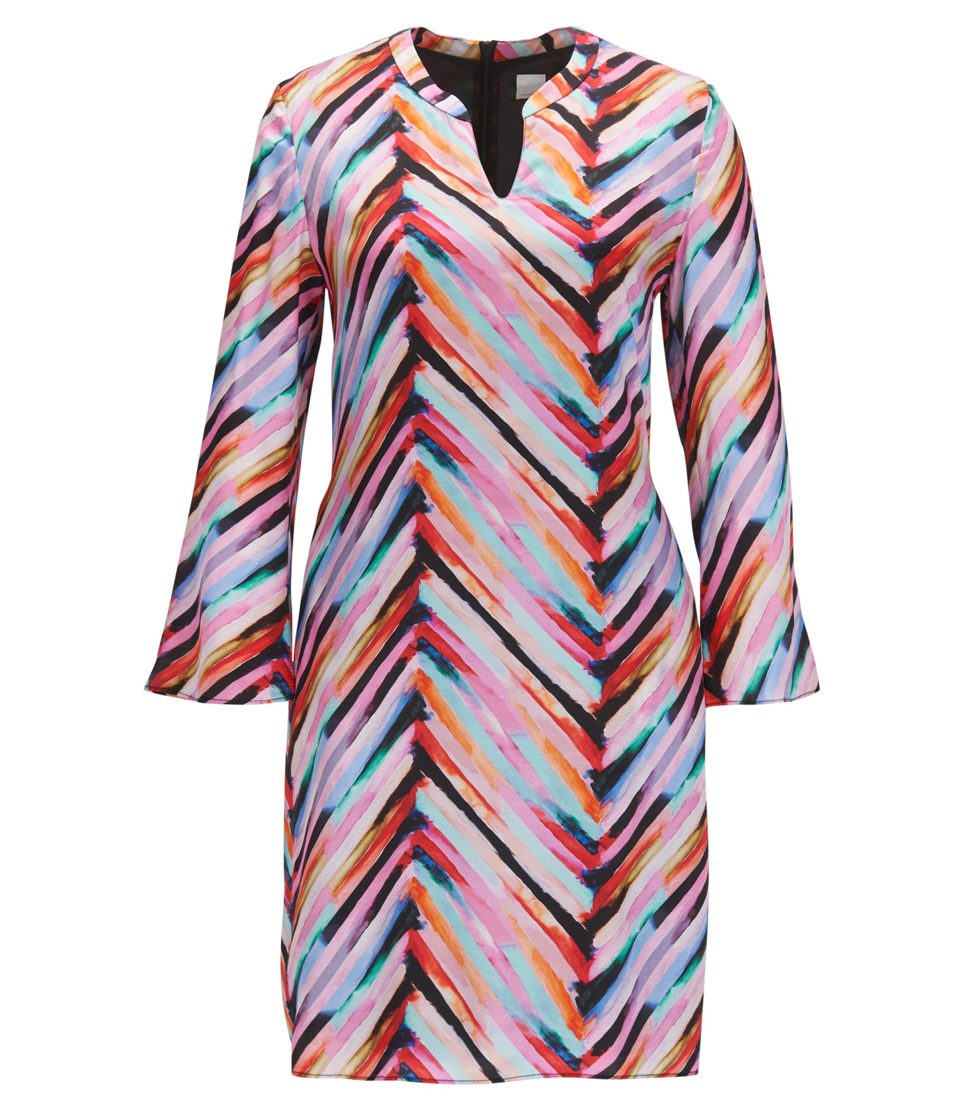 Multi-coloured tunic dress with flared sleeves, Patterned