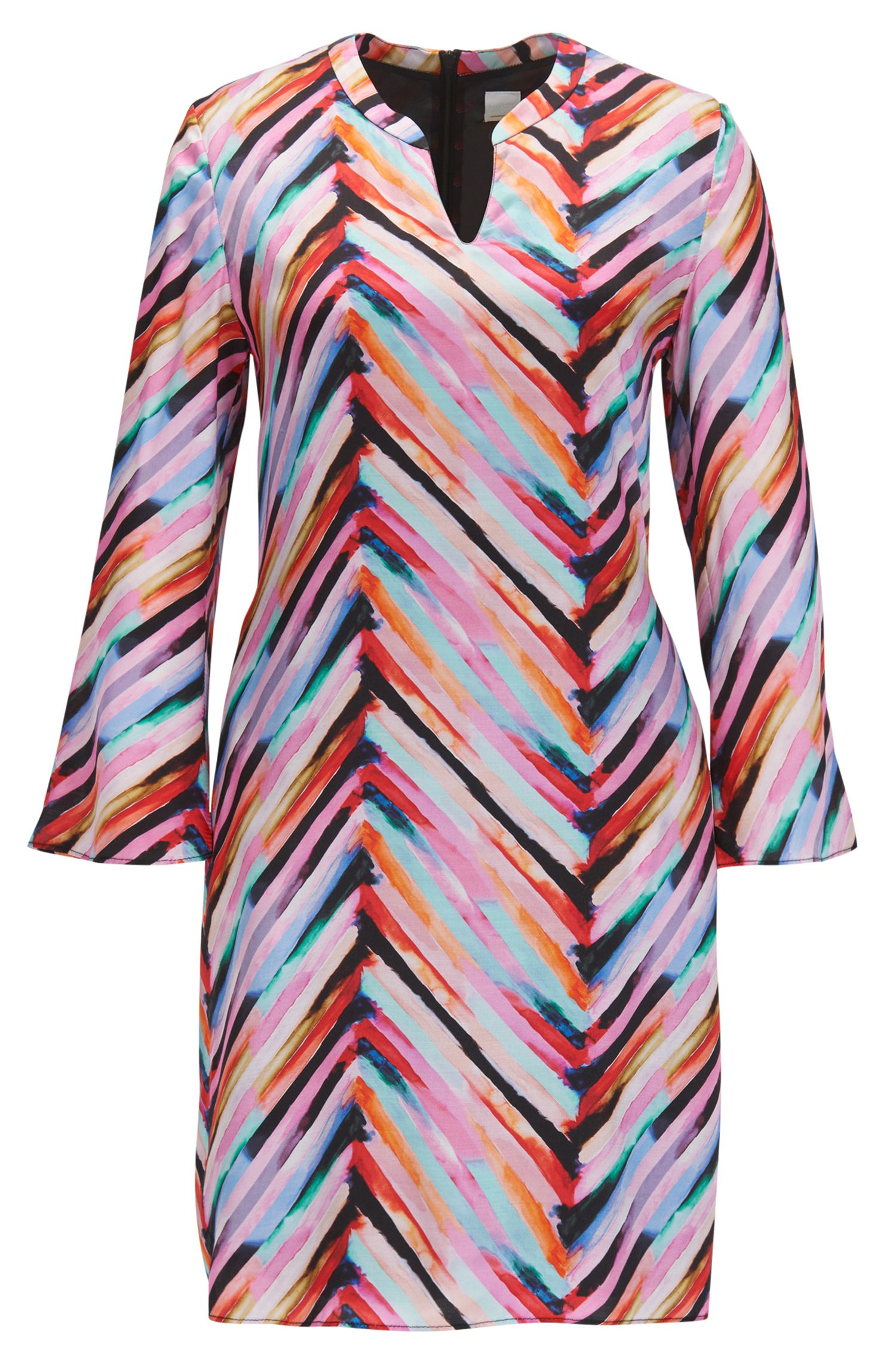 Multi-coloured tunic dress with flared sleeves
