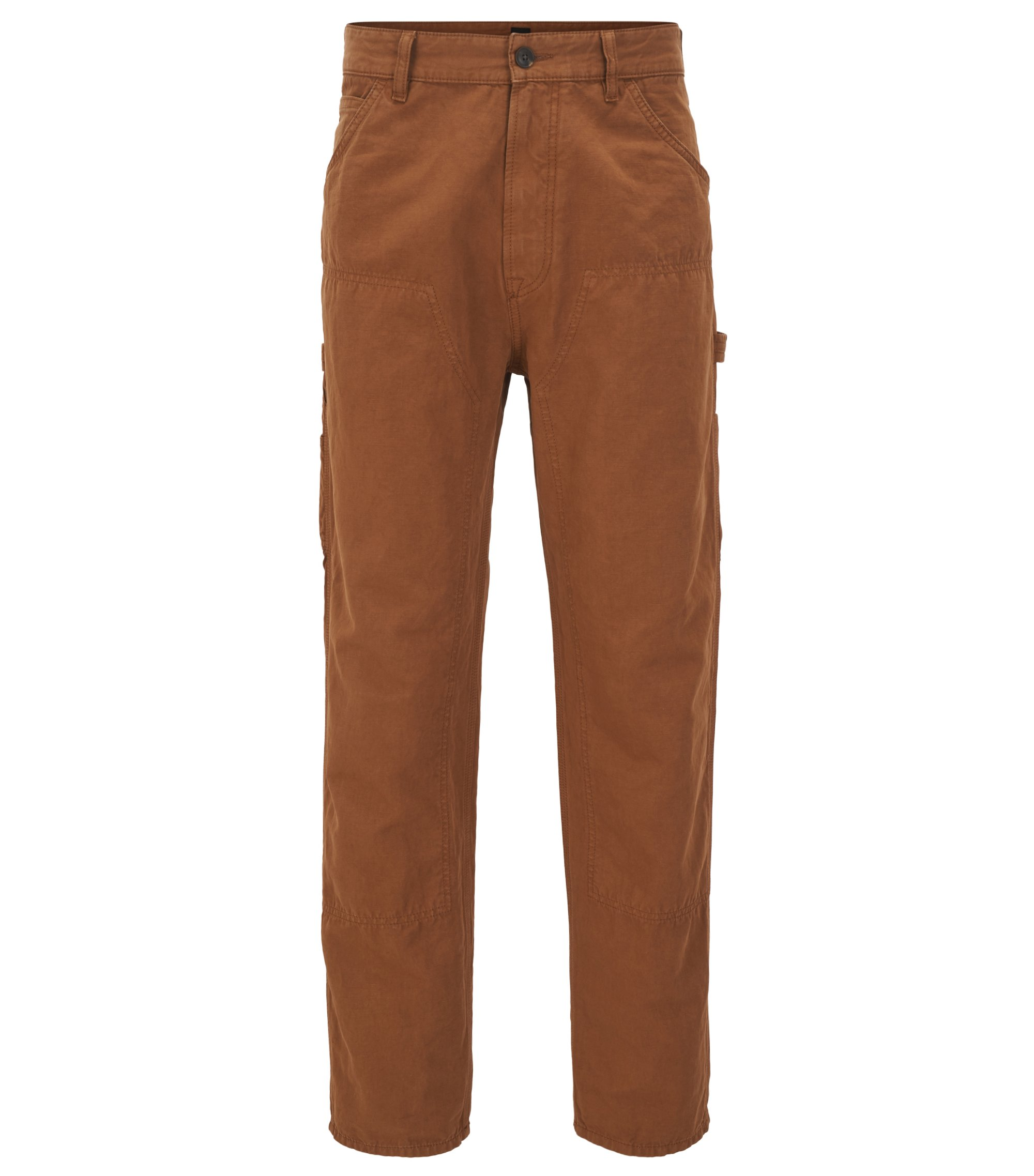 Pantalon Tapered Fit en coton flammé mélangé, Marron