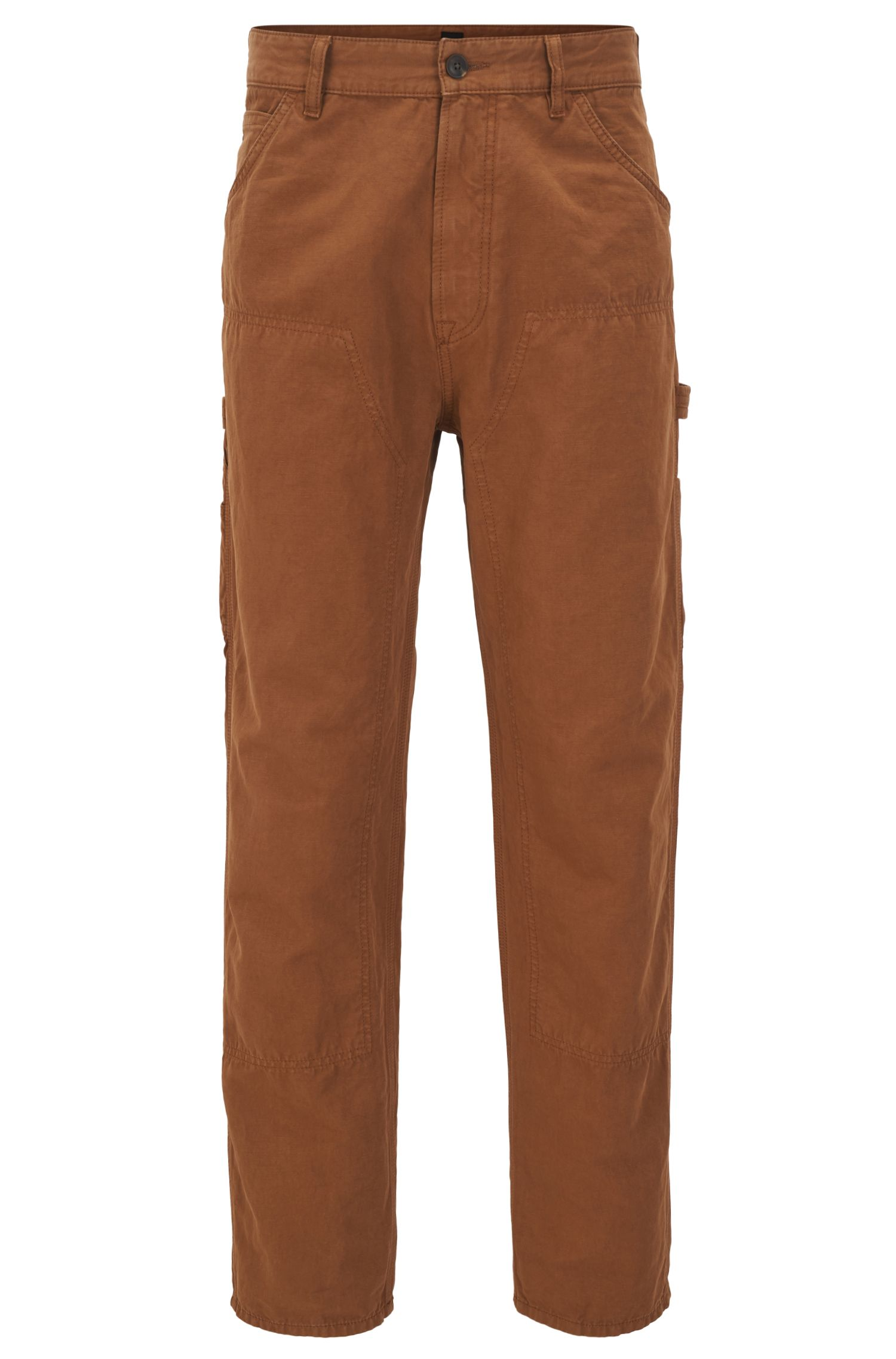 Tapered-fit trousers in a slub cotton blend
