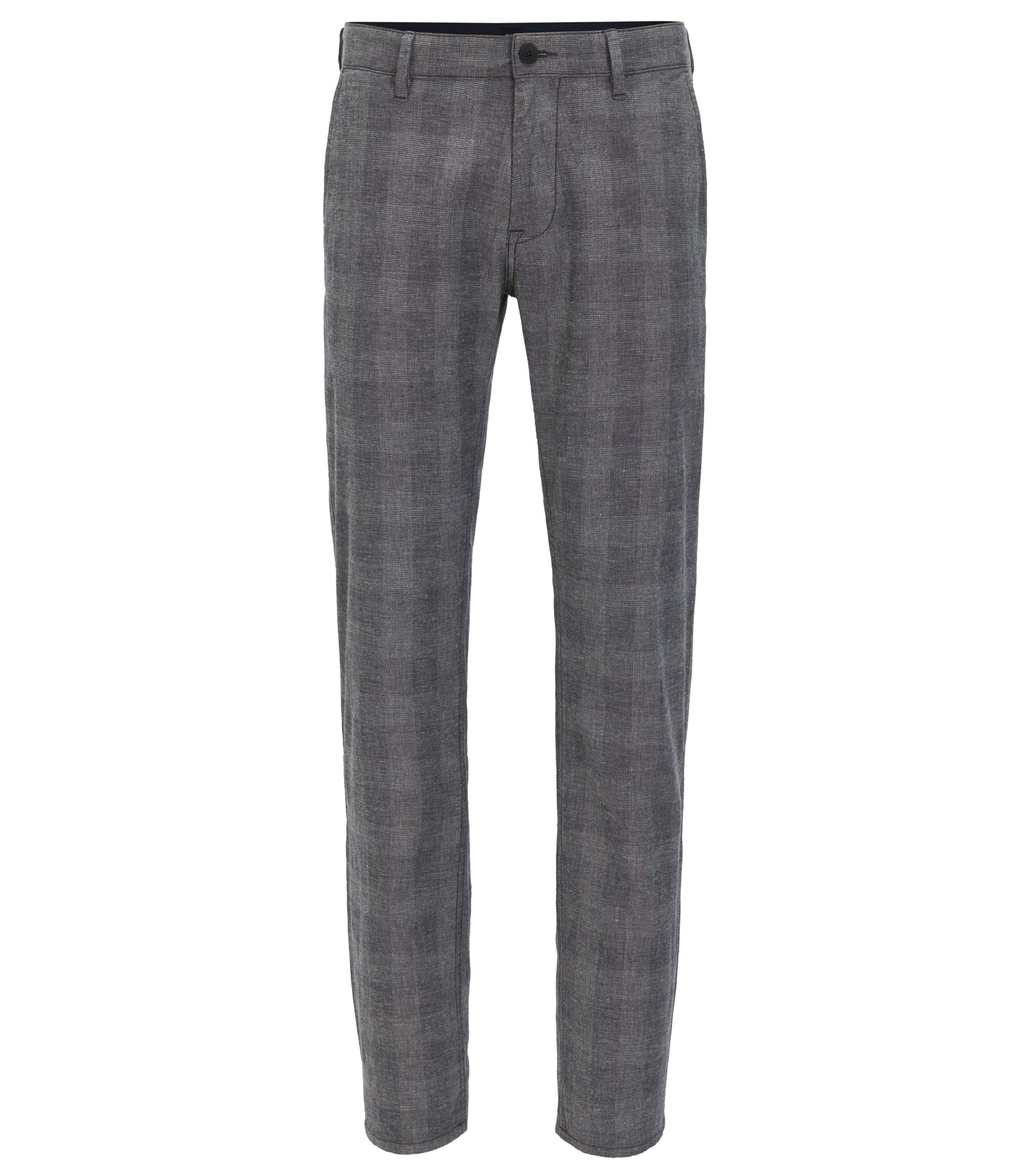 Slim-fit stretch-cotton trousers with muted check, Black