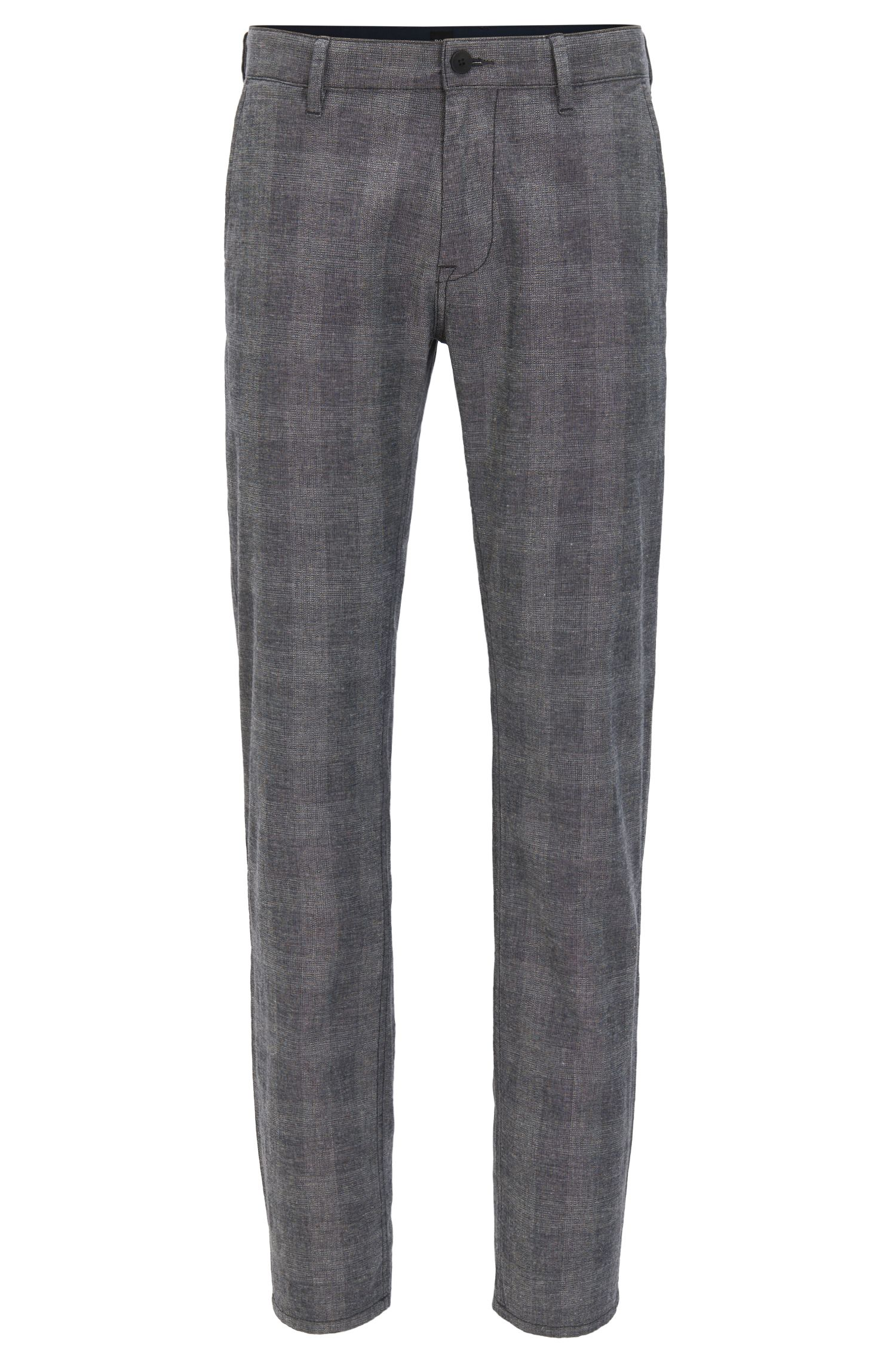 Slim-fit stretch-cotton trousers with muted check