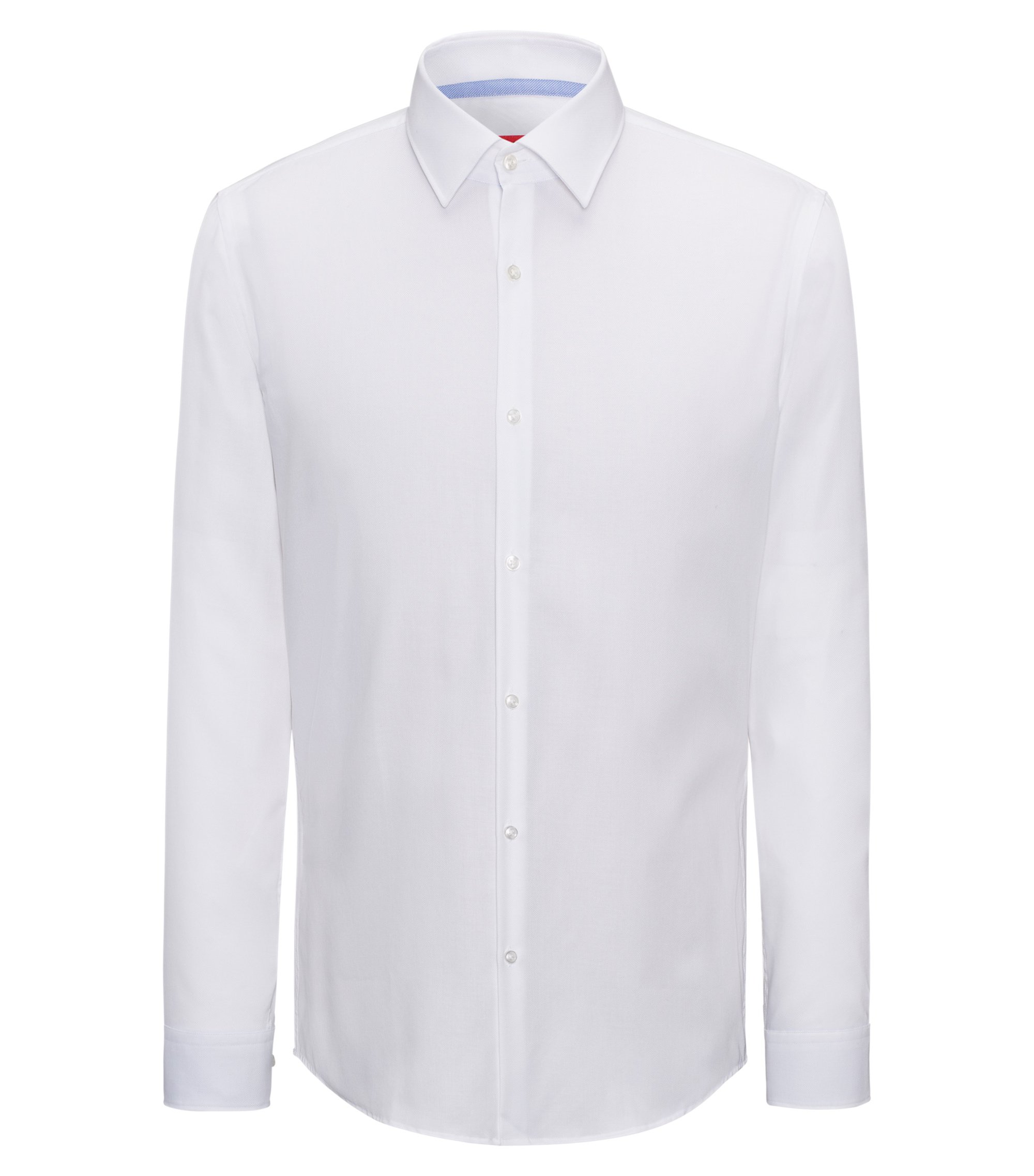 Slim-fit shirt in easy-iron cotton with internal contrasts, White