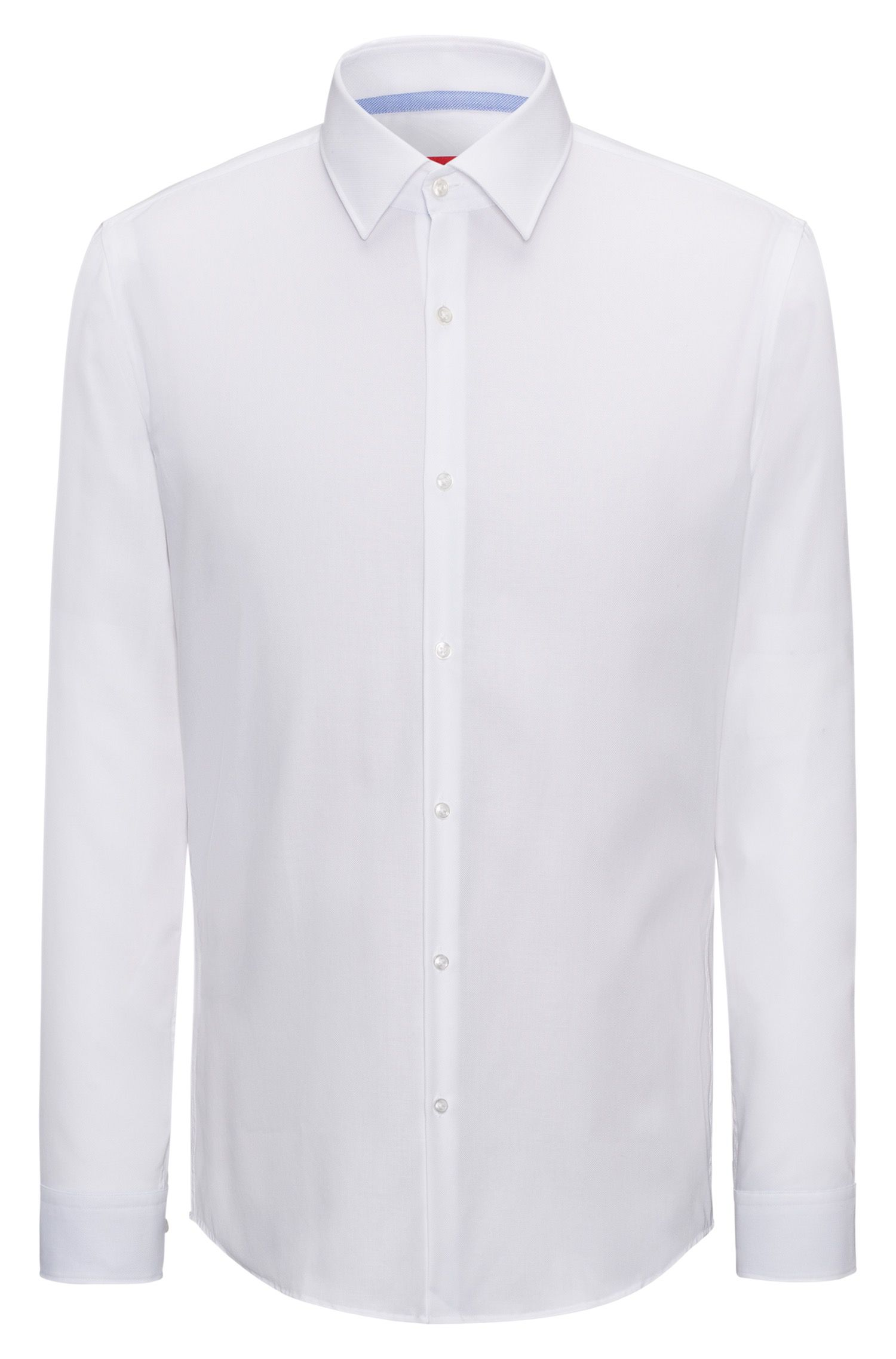 Slim-fit shirt in easy-iron cotton with internal contrasts