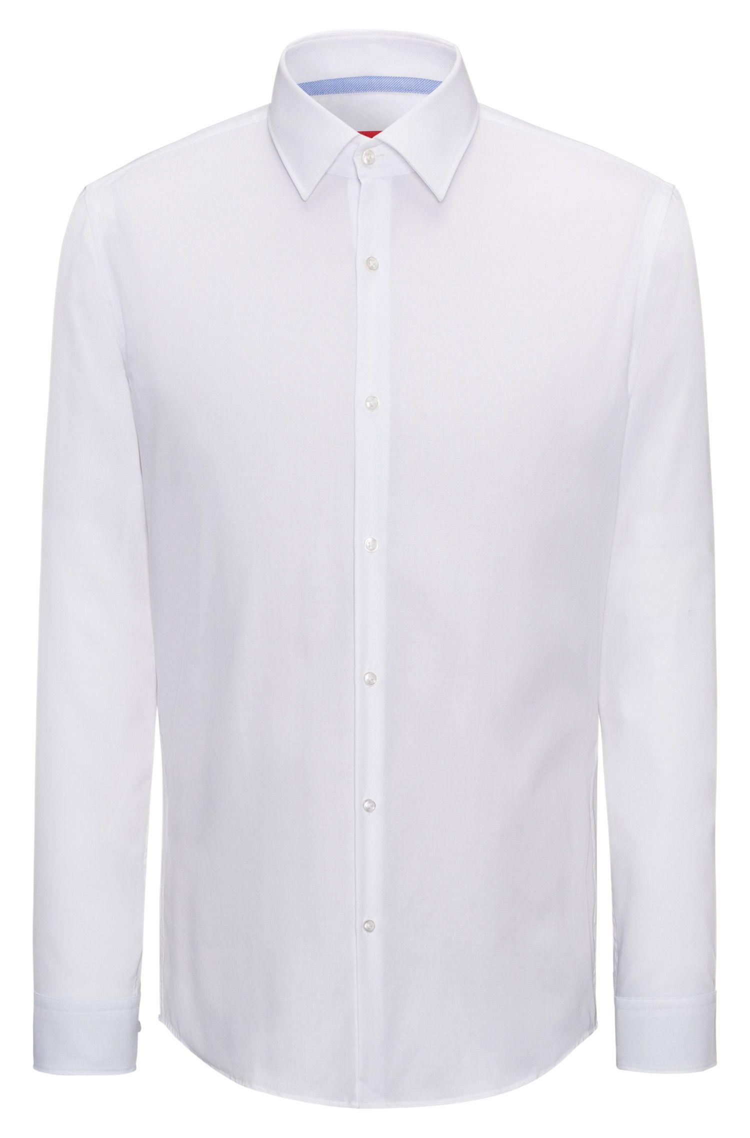 Slim-fit overhemd van gemakkelijk te strijken katoen met contrasten aan de binnenzijde