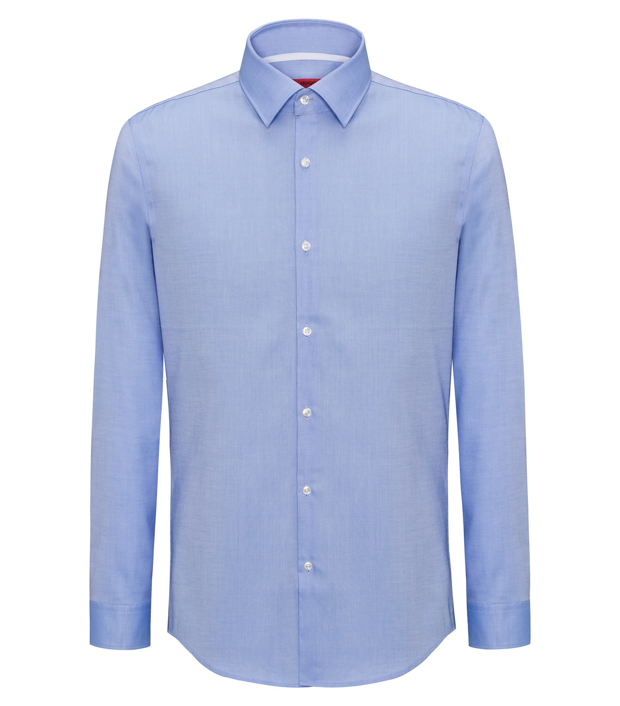 Slim-fit shirt in easy-iron cotton with internal contrasts, Light Blue