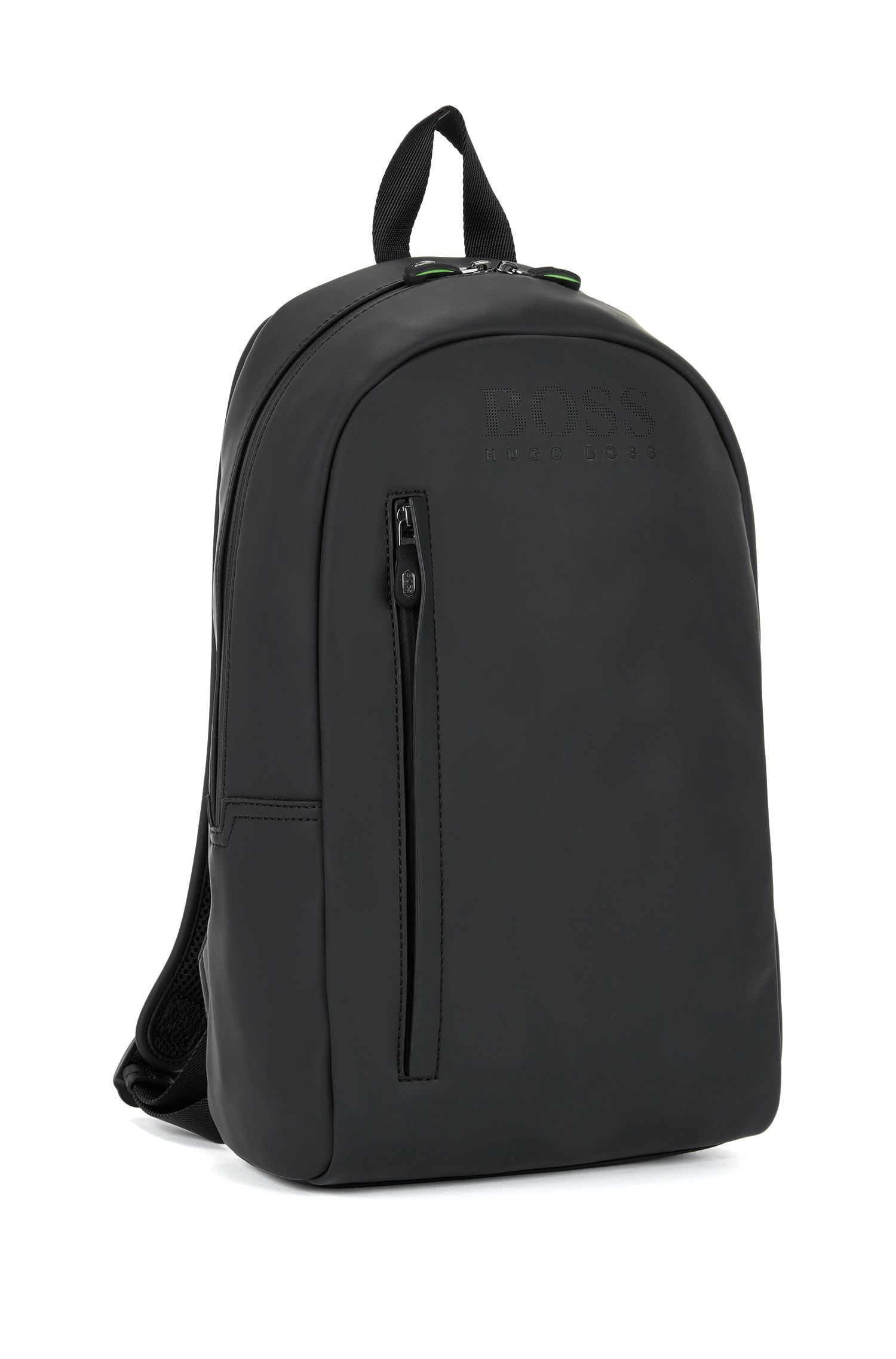 Backpack in rubberised technical fabric