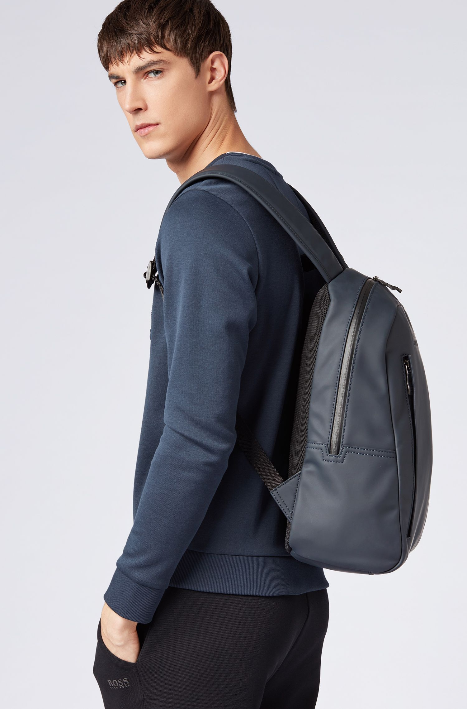 Backpack in rubberised technical fabric, Dark Blue