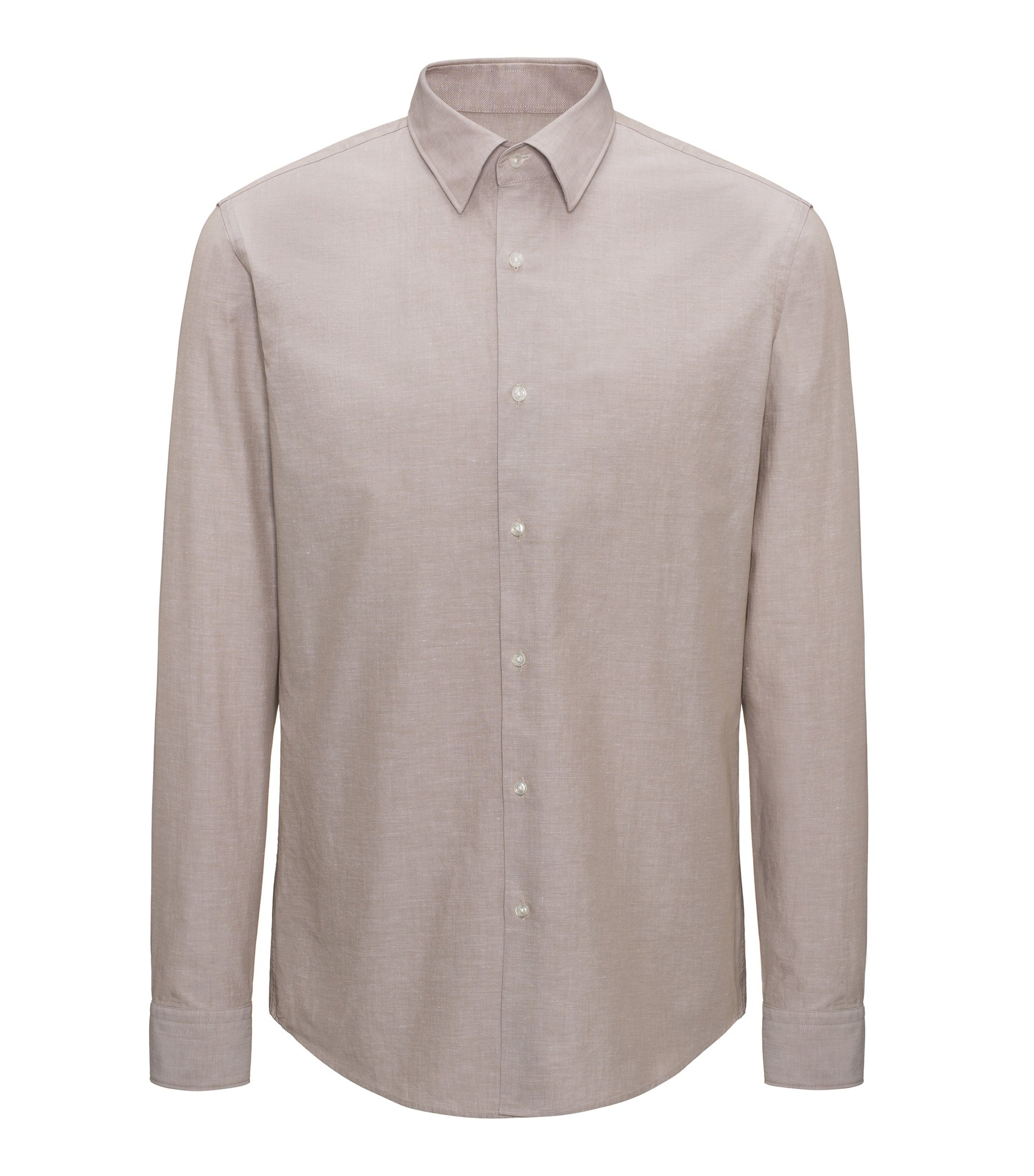 Regular-fit shirt in a cooling cotton blend, Light Beige