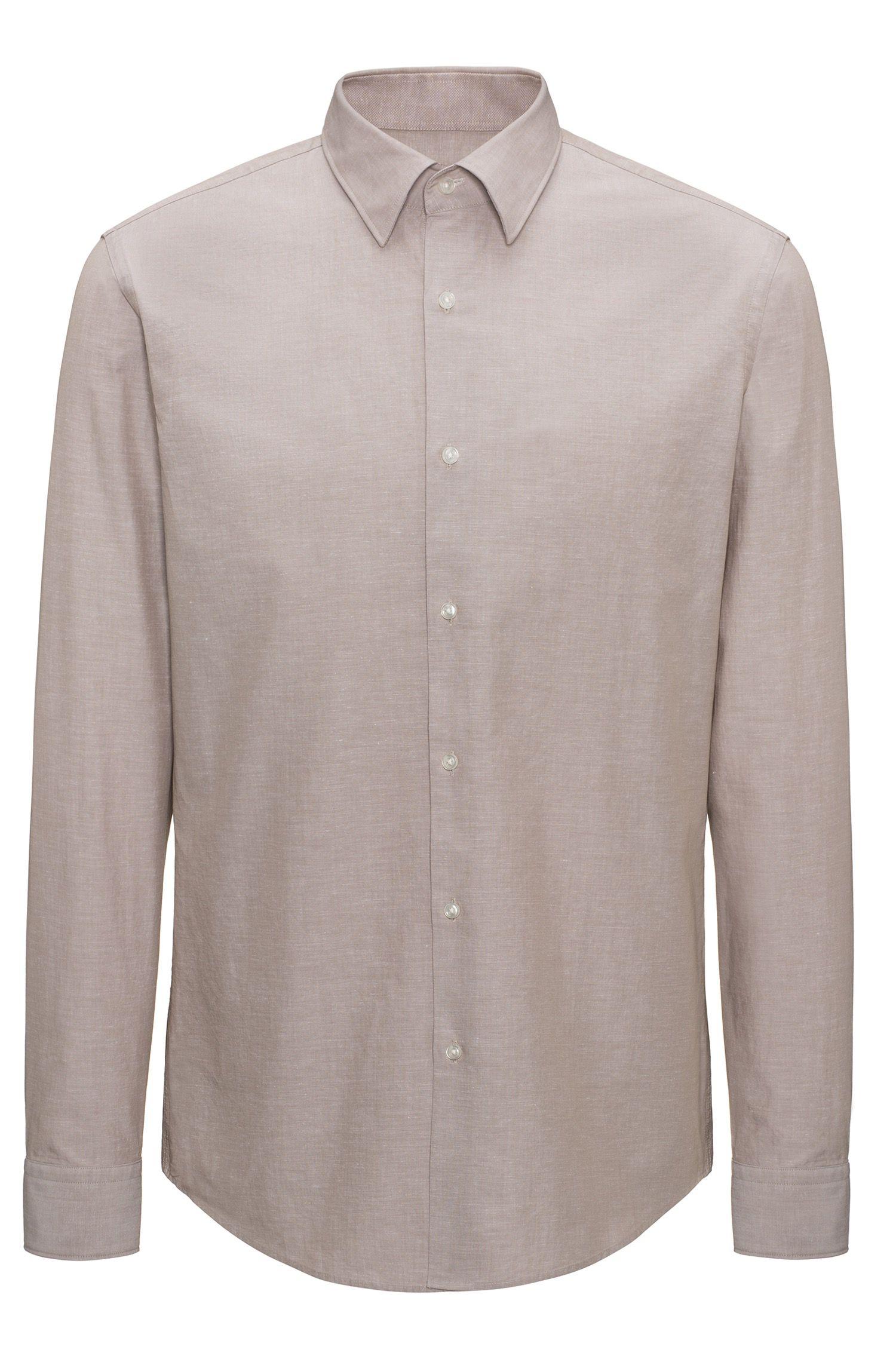 Regular-fit overhemd van een verkoelende katoenmix