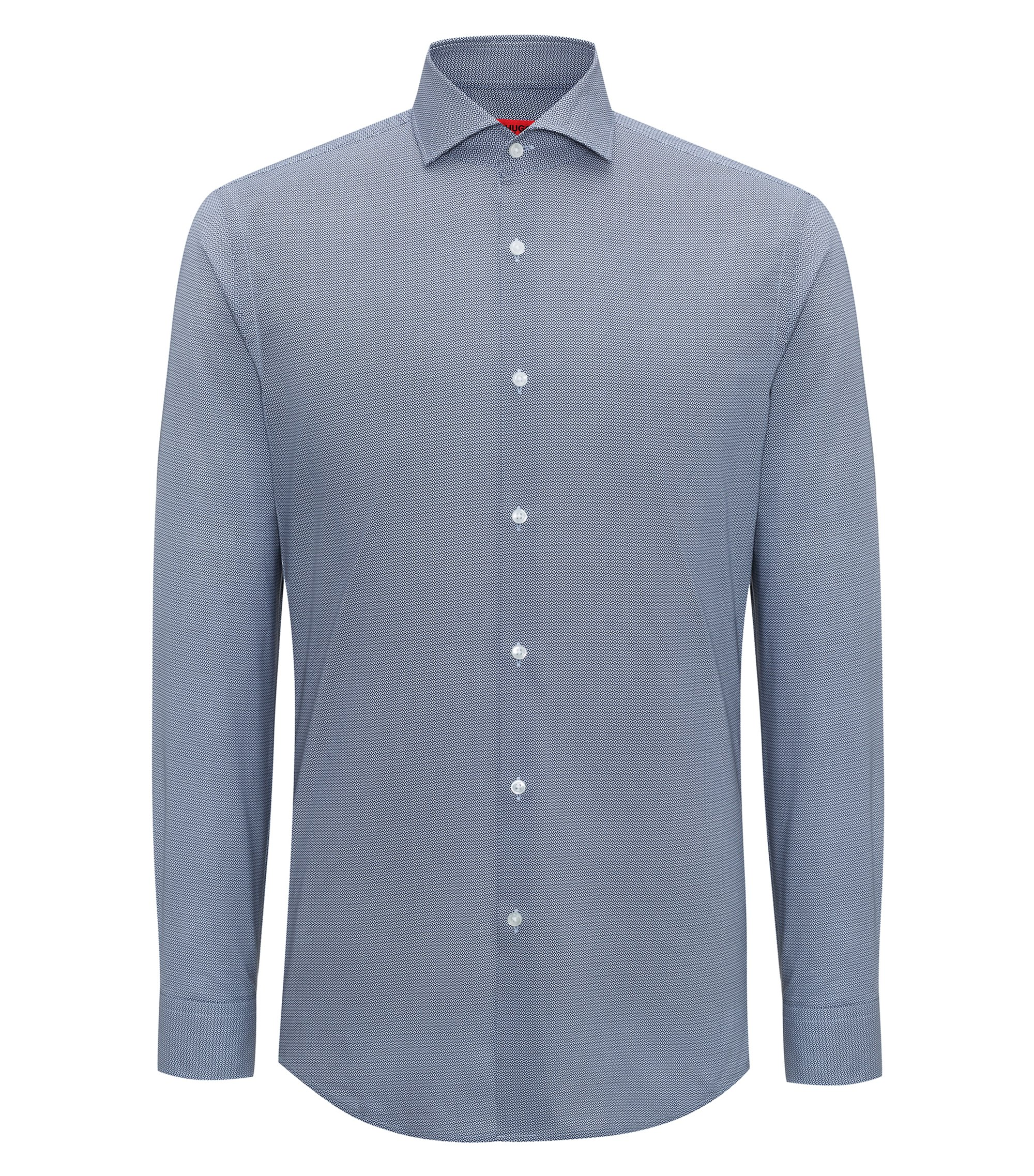 Printed cotton shirt in a slim fit, Dark Blue