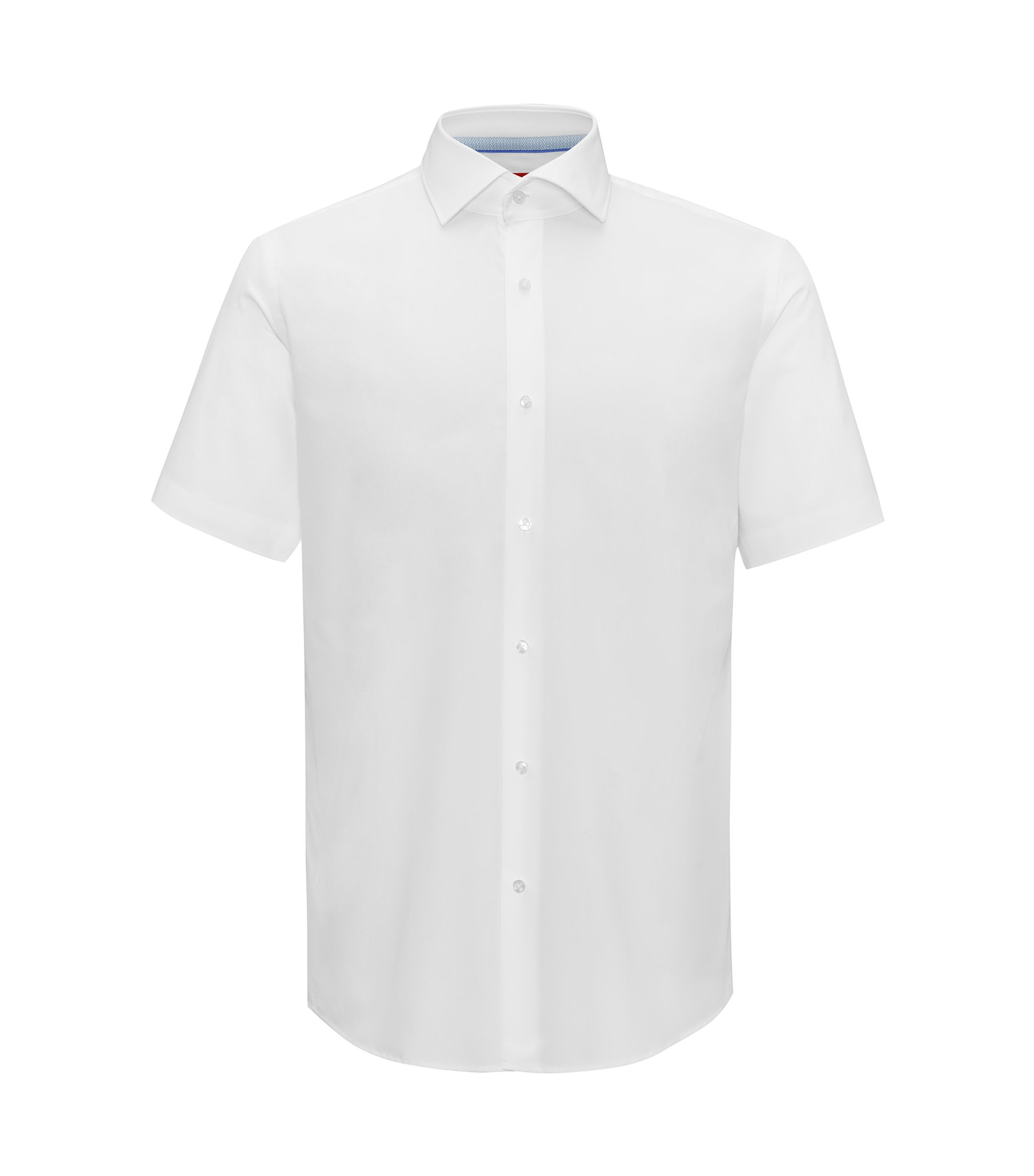 Regular-fit short-sleeved shirt in cotton poplin, Open White