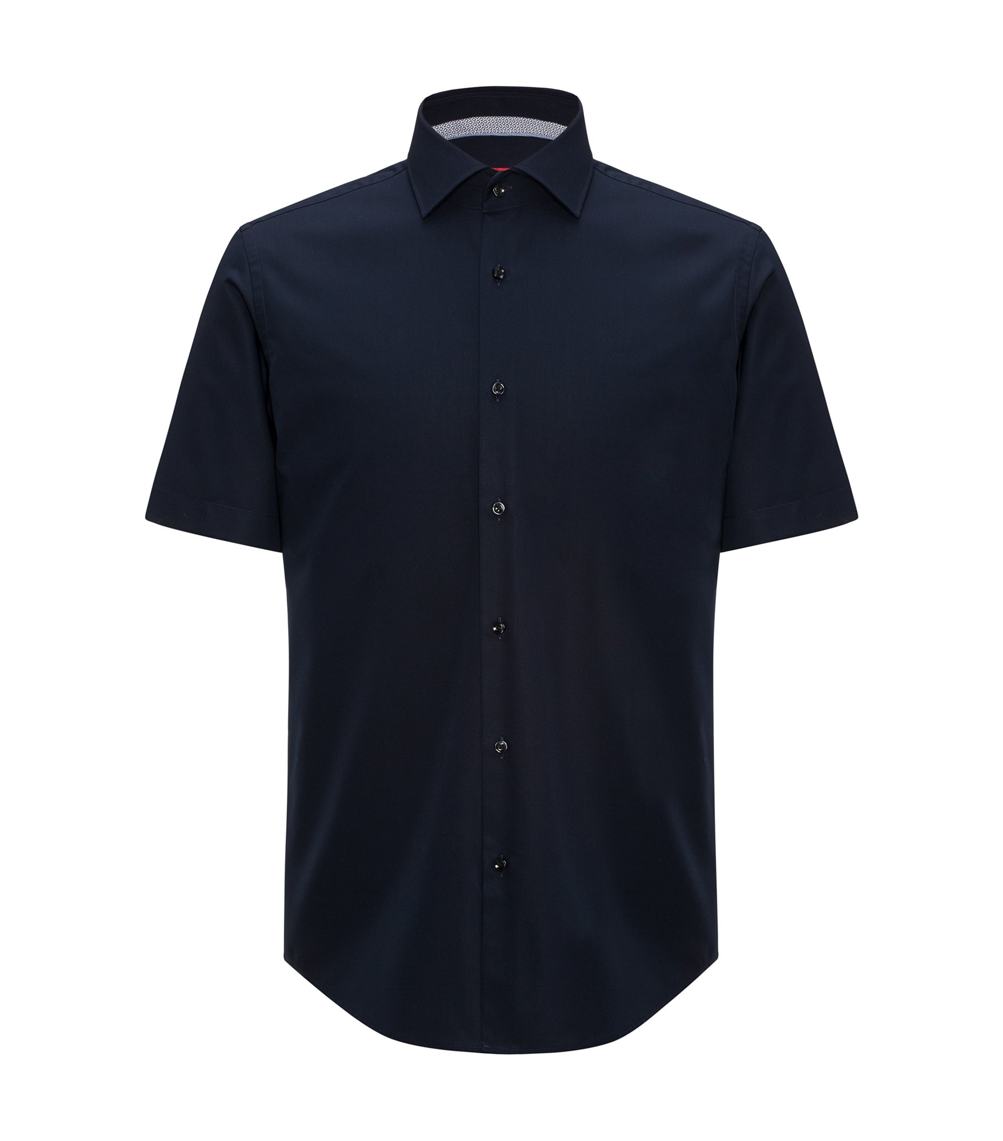 Regular-fit short-sleeved shirt in cotton poplin, Dark Blue