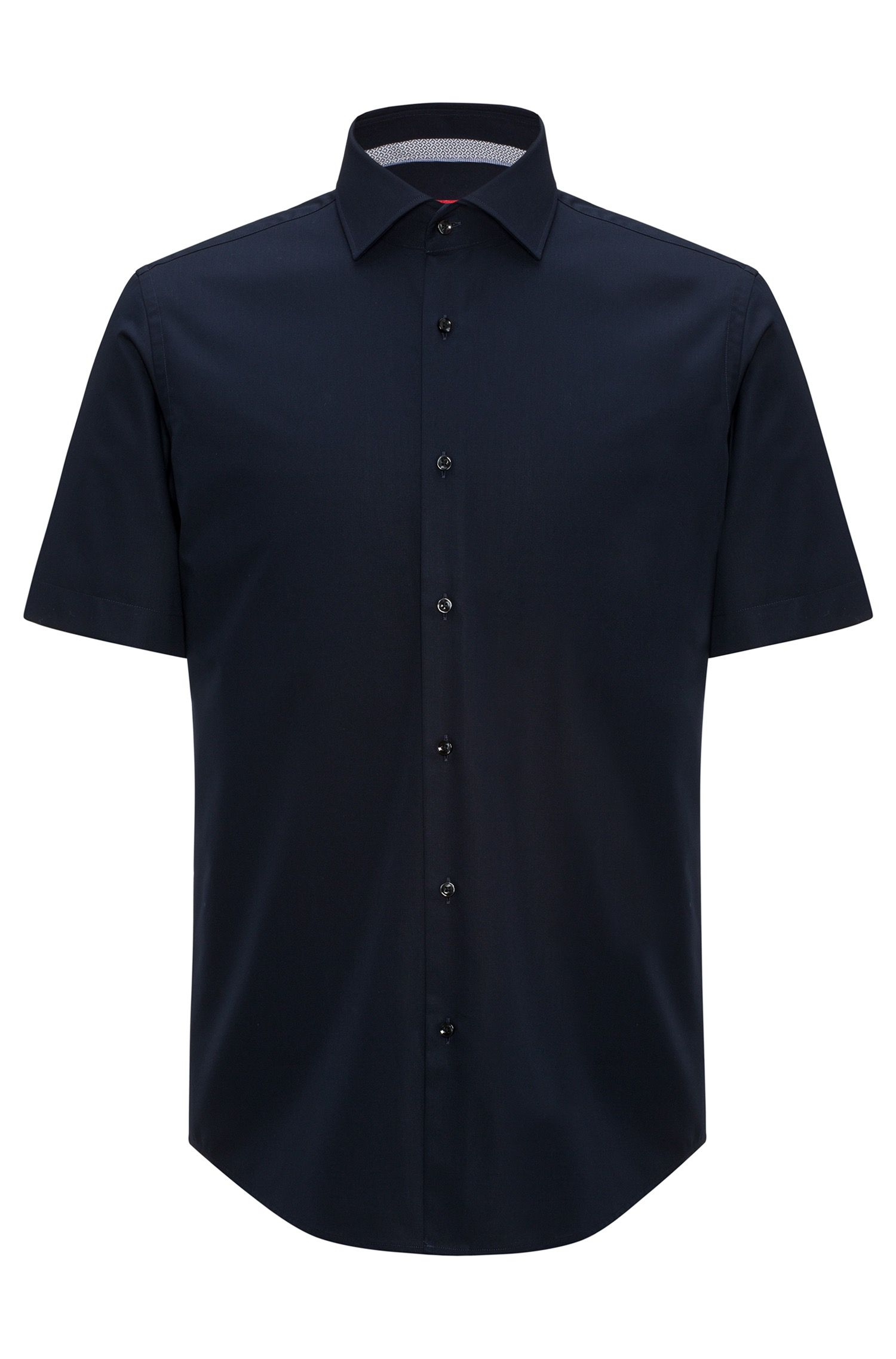 Regular-fit short-sleeved shirt in cotton poplin