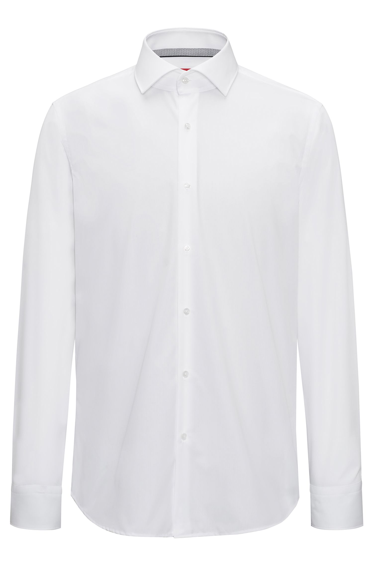 Regular-fit easy-iron cotton shirt with spread collar