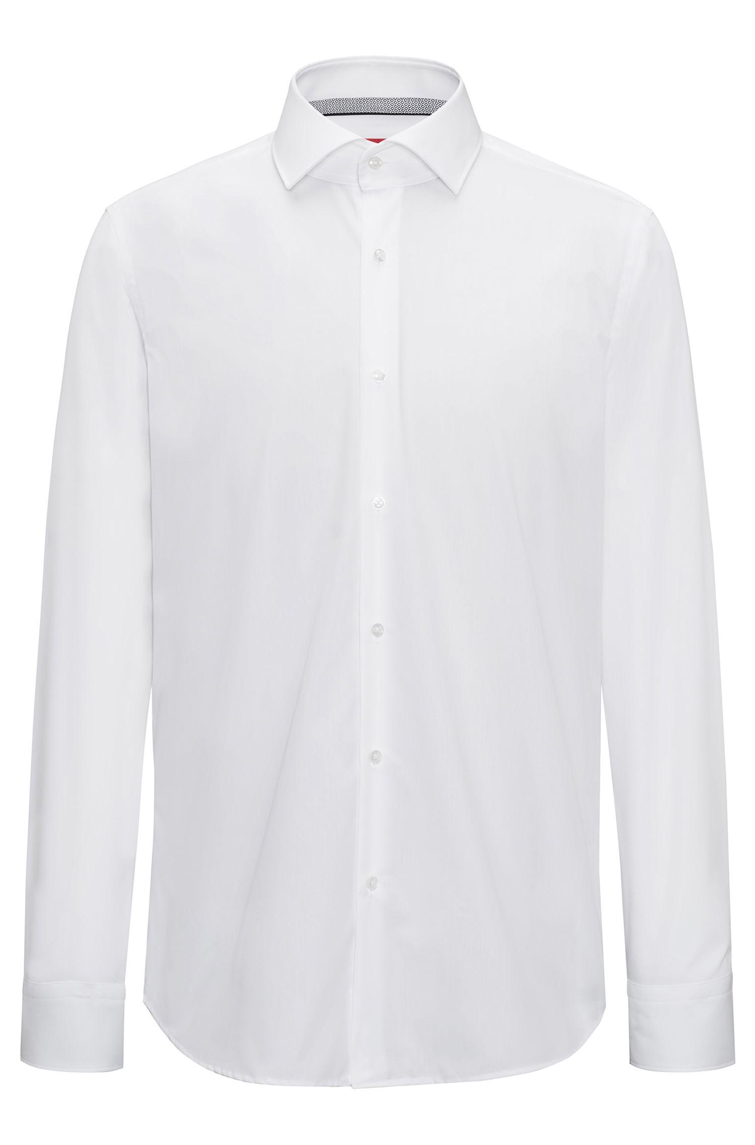 Chemise Regular Fit à col italien, en coton facile à repasser