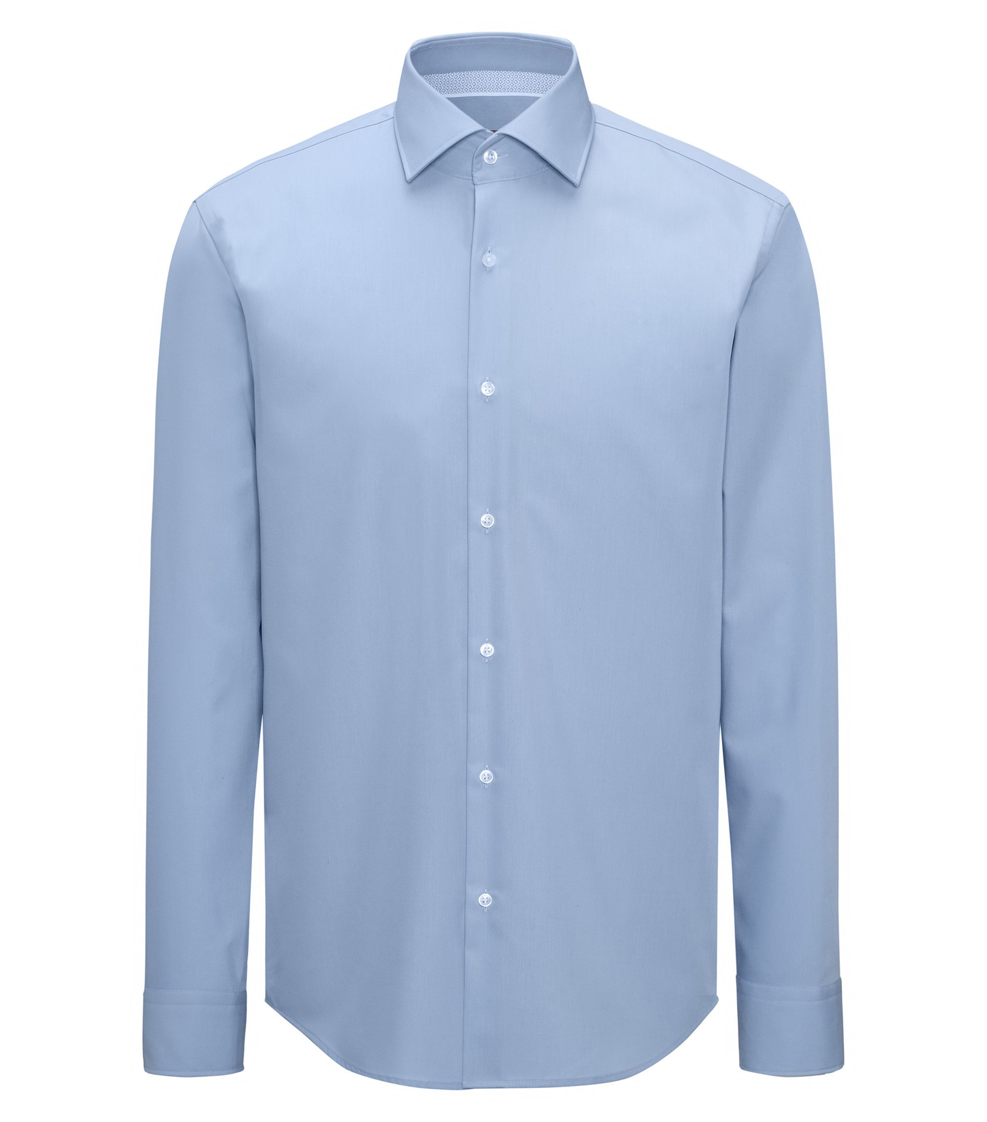 Regular-fit easy-iron cotton shirt with spread collar, Light Blue
