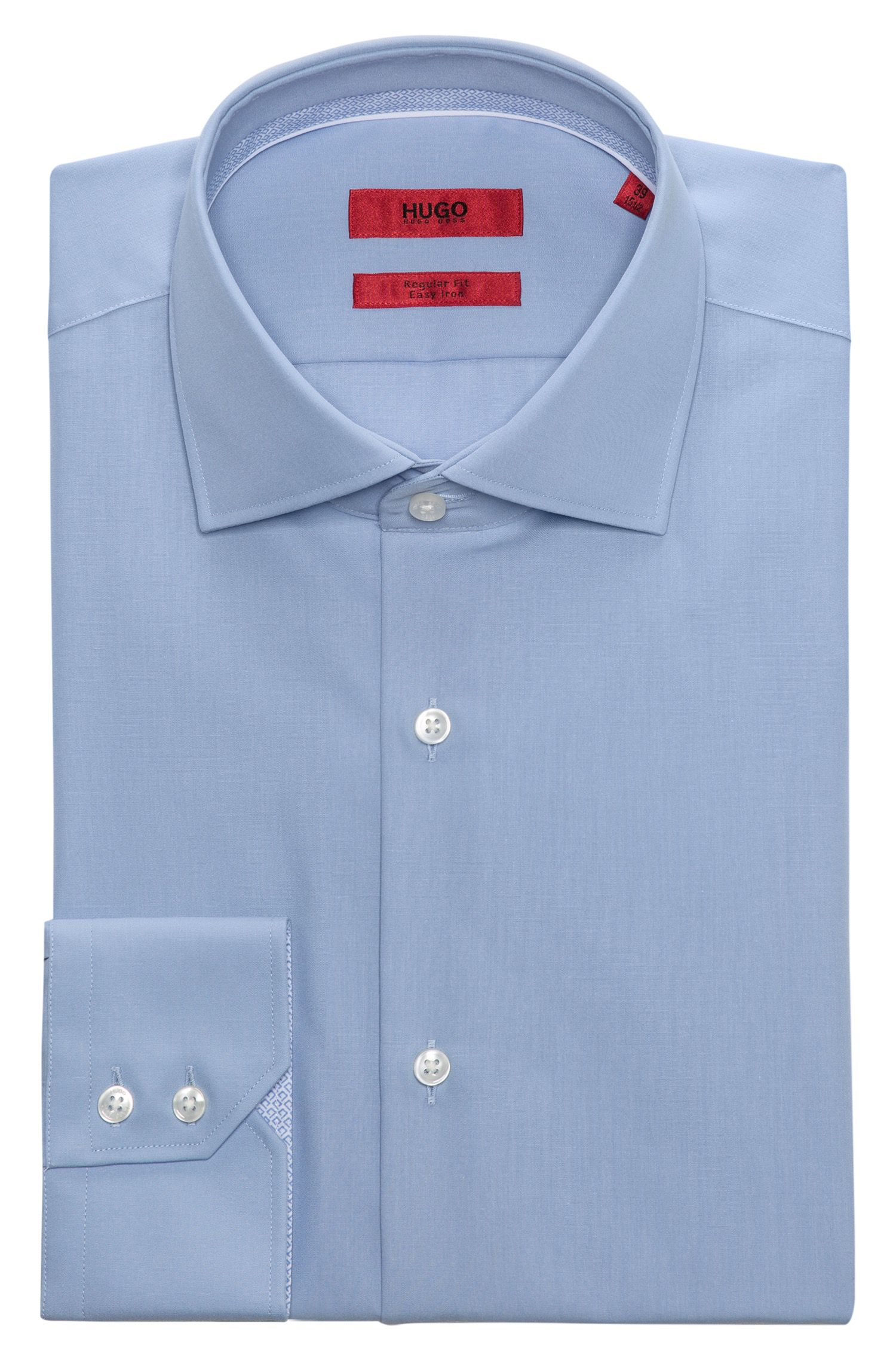 Camicia regular fit in cotone facile da stirare con colletto alla francese