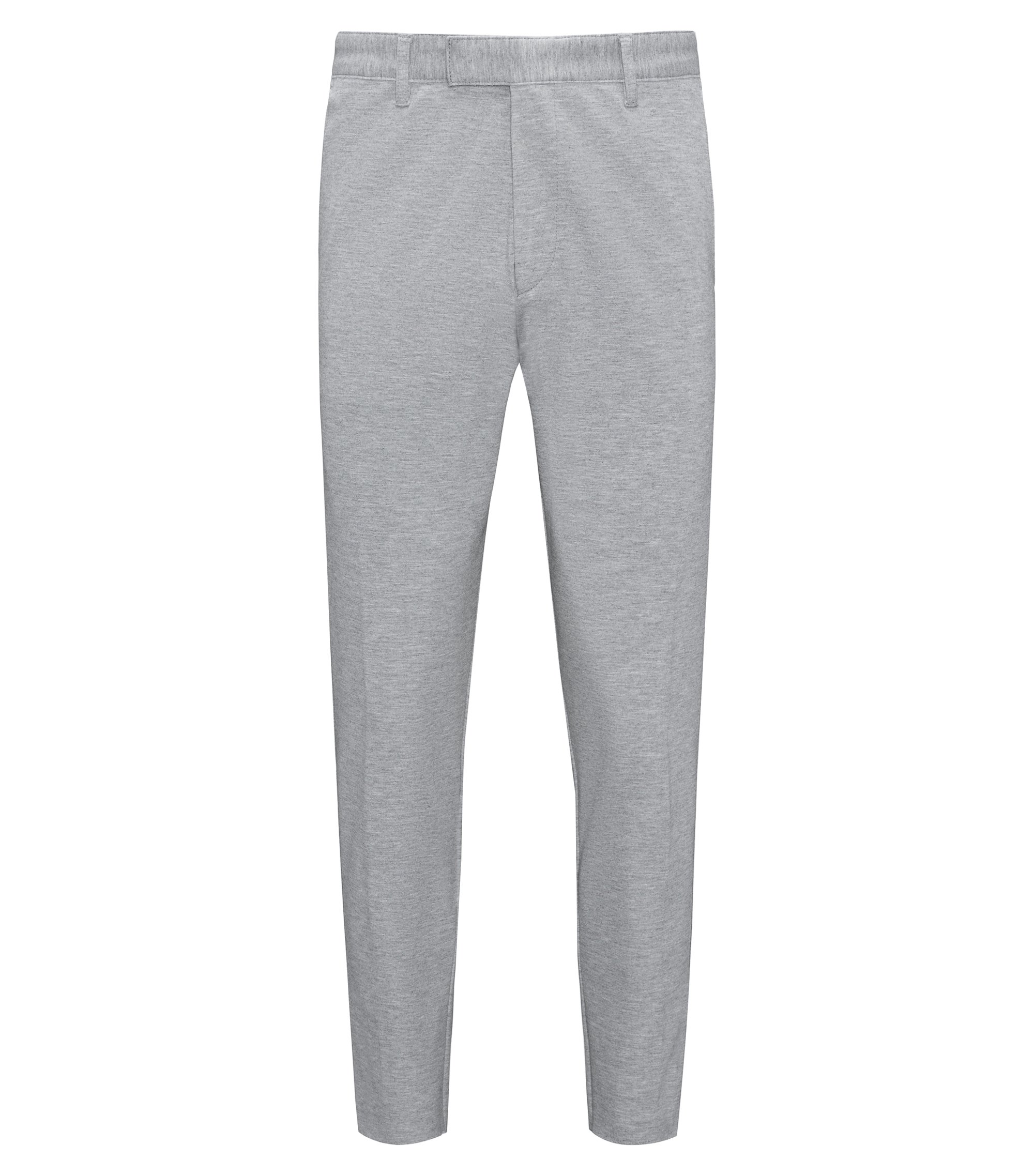 Marled stretch-jersey chinos with a skinny leg, Grey