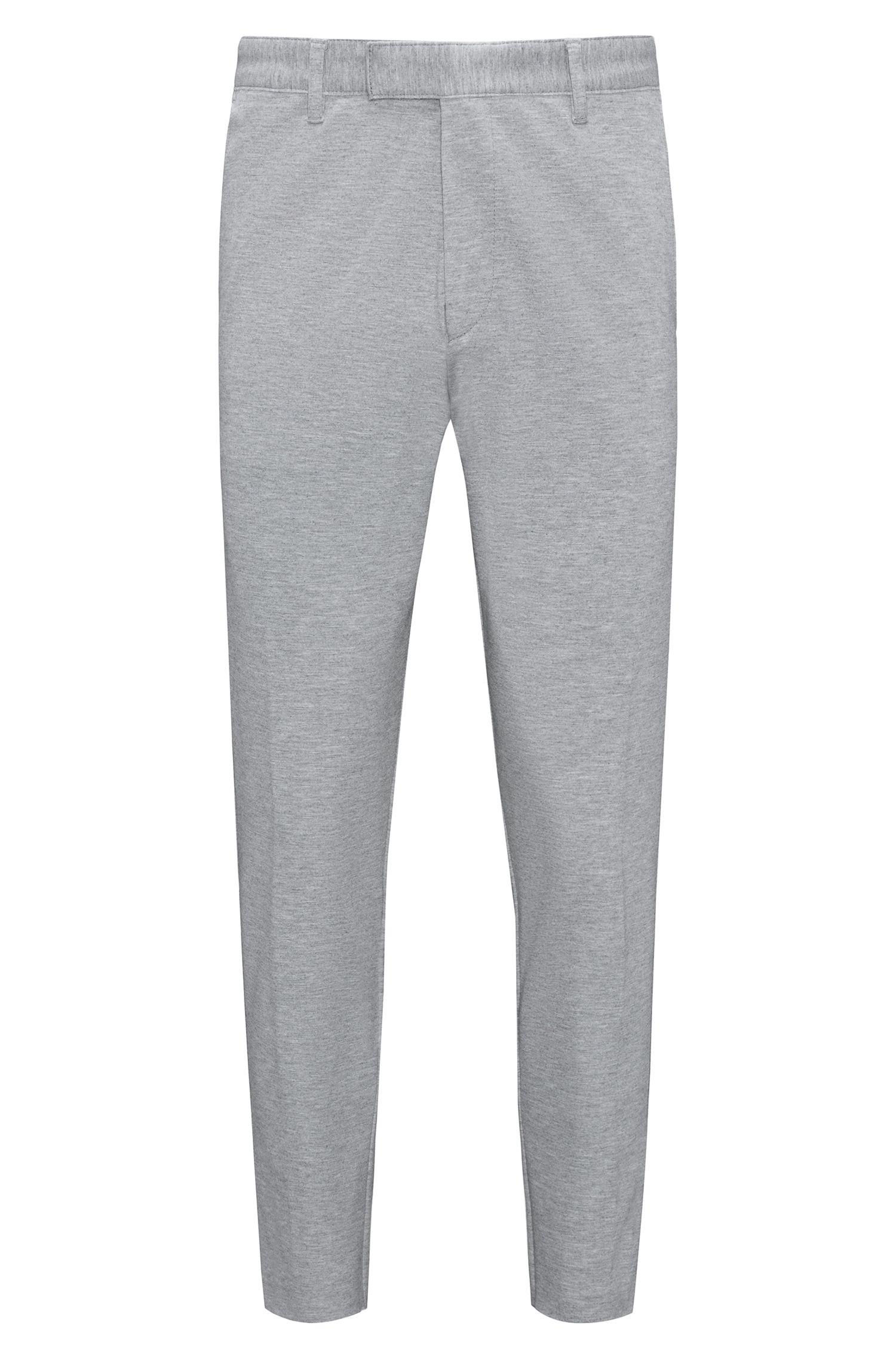 Chino aus meliertem Stretch-Jersey mit schmalem Bein