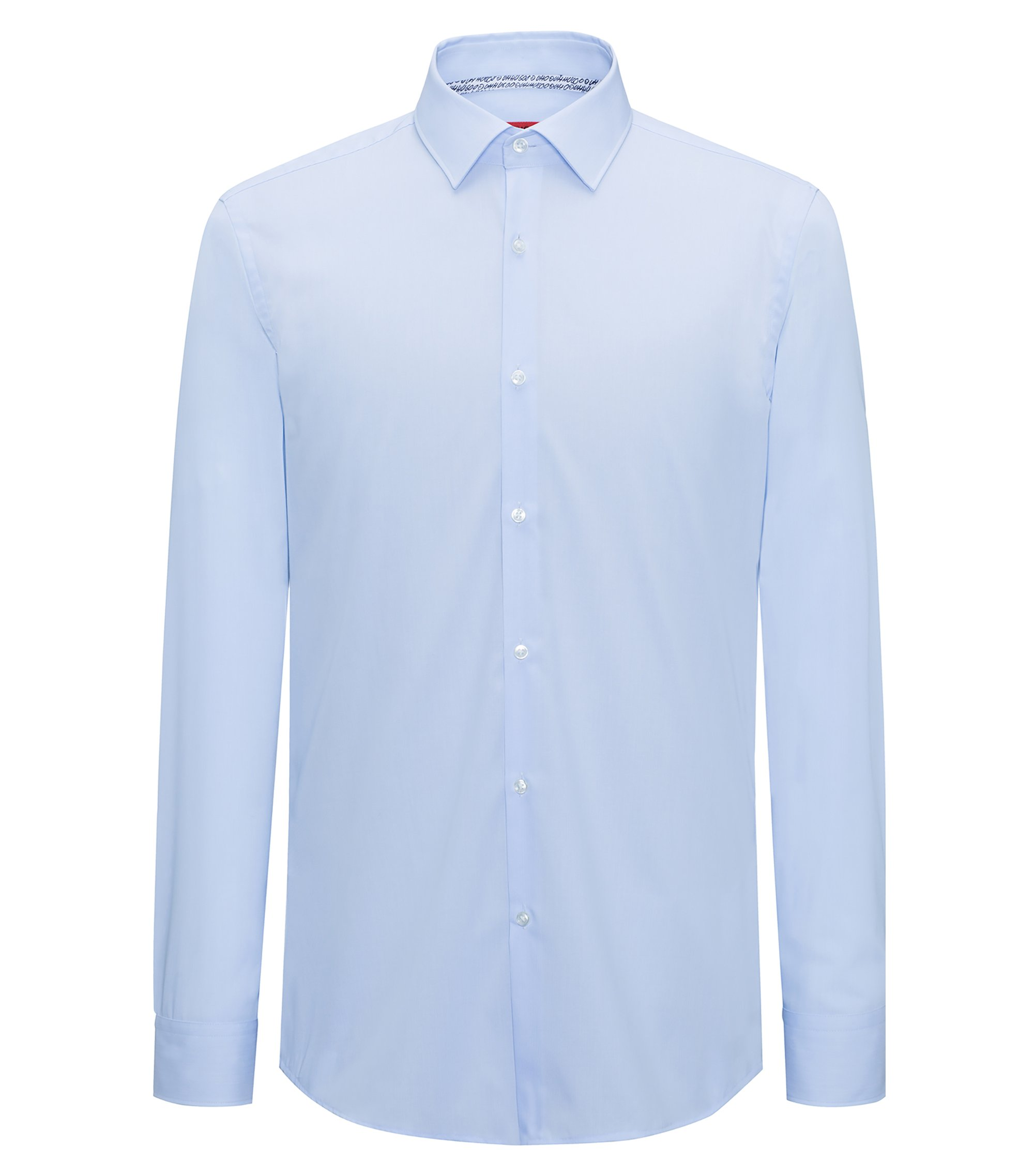 Camicia slim fit a righine in popeline di cotone facile da stirare, Celeste