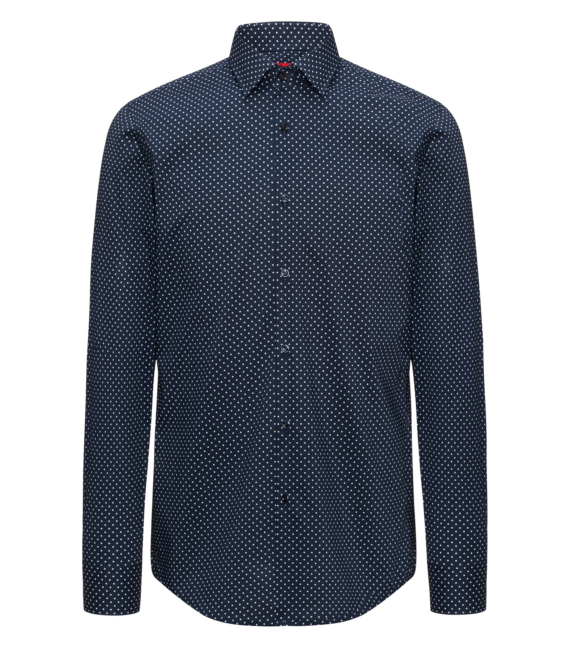 Slim-fit shirt in dot-printed cotton, Dark Blue