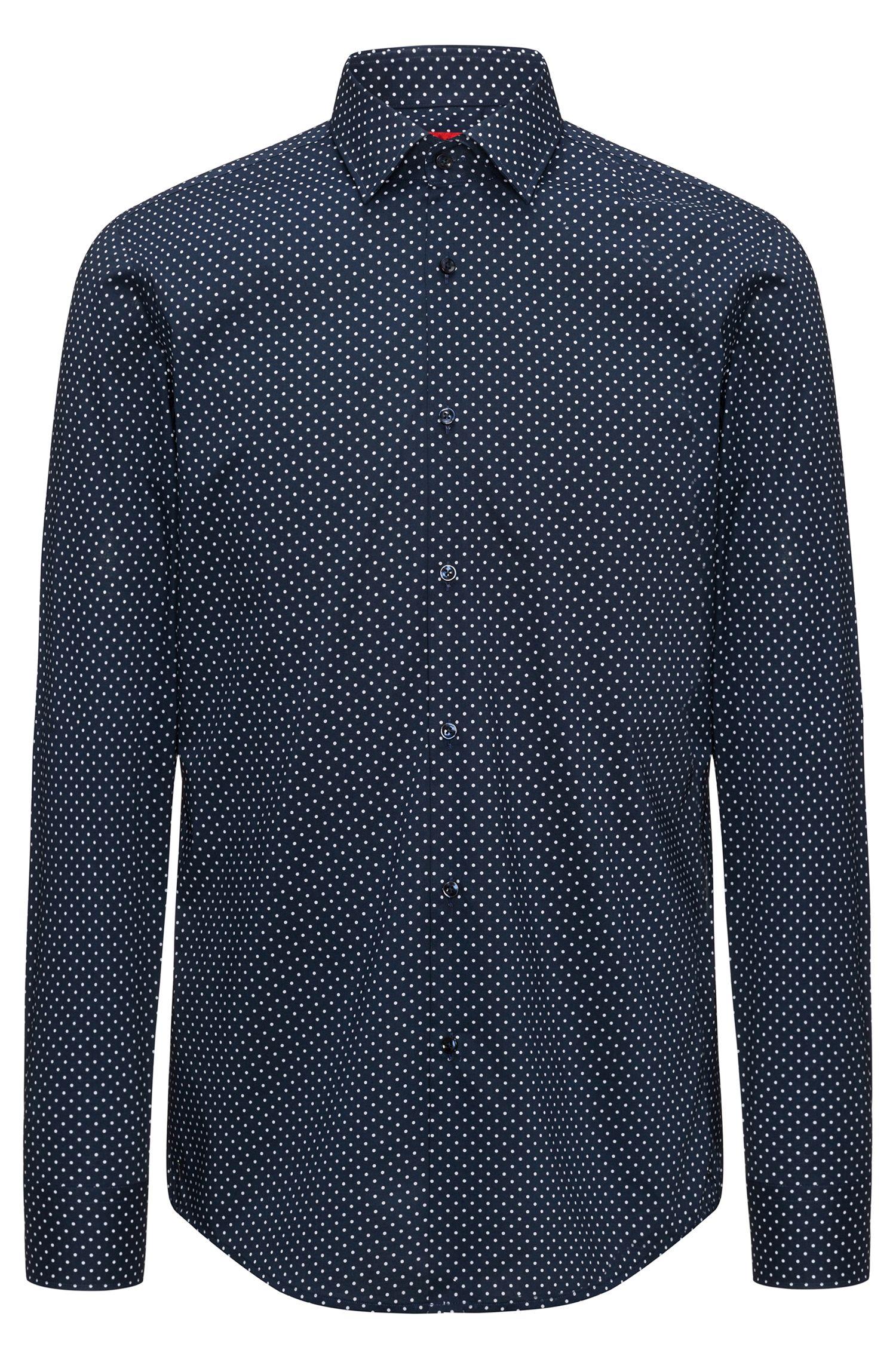 Camisa slim fit en algodón con estampado de puntos
