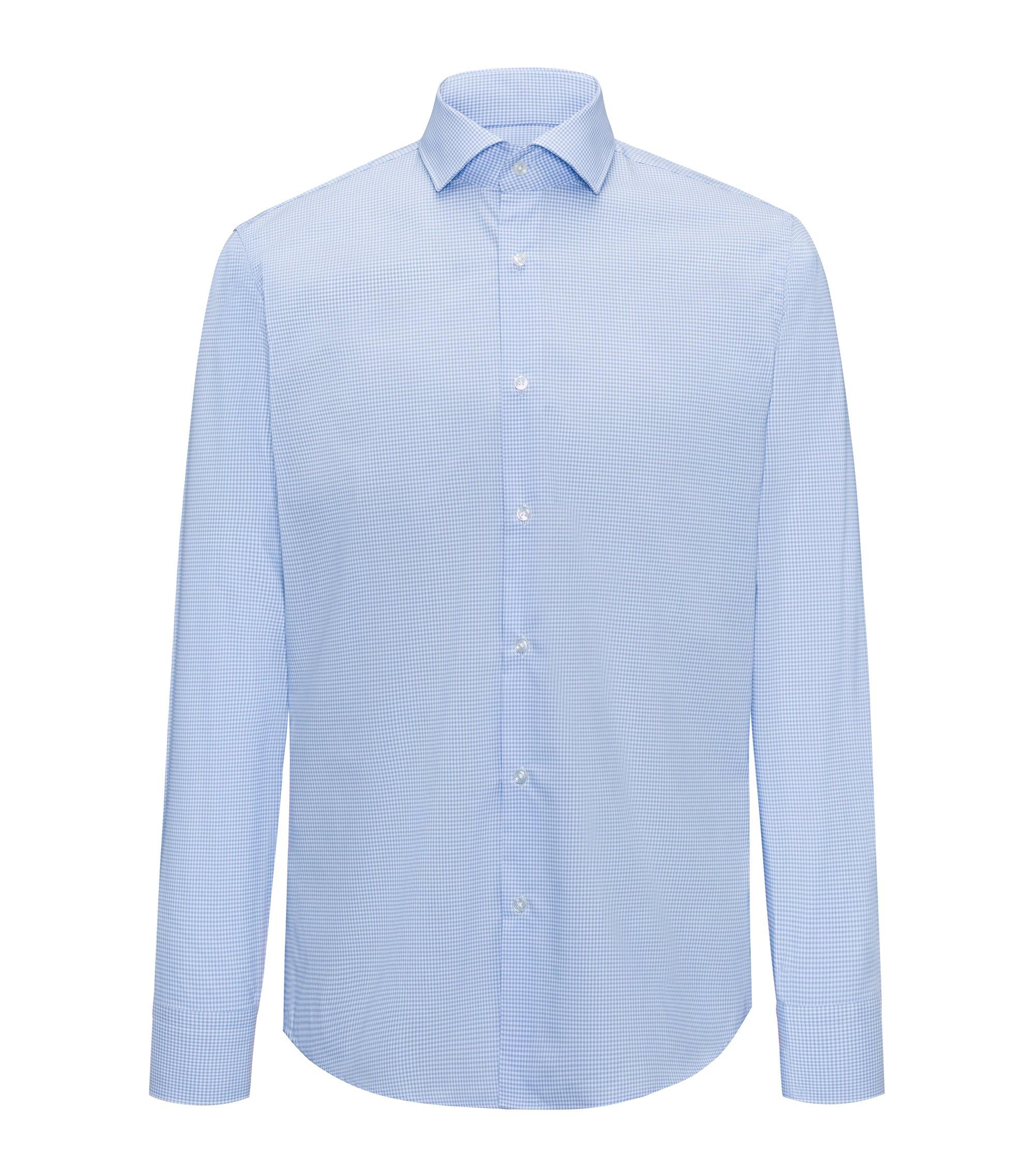 Camisa regular fit en algodón de planchado fácil con cuadros Vichy, Celeste