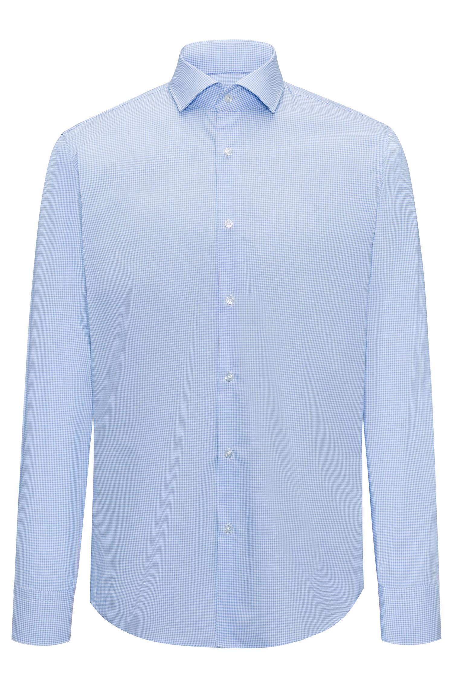 Camicia regular fit a quadri Vichy in cotone facile da stirare