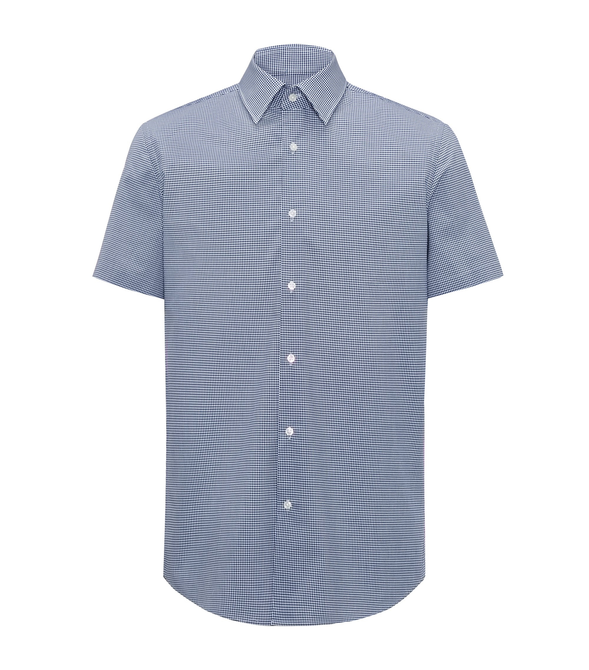 Camicia a maniche corte regular fit in cotone a quadri facile da stirare, Blu scuro