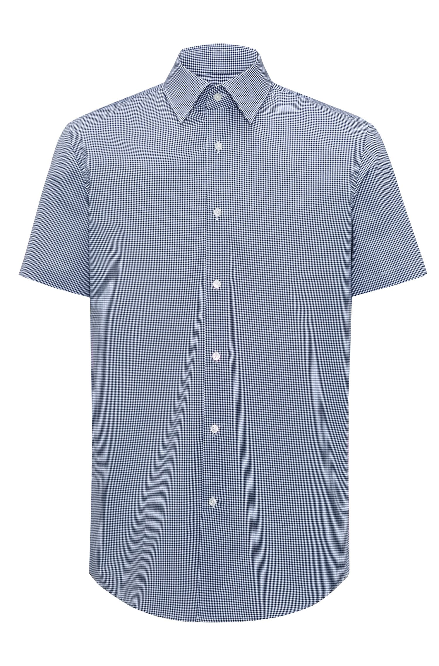 Regular-fit short-sleeved shirt in easy-iron checked cotton