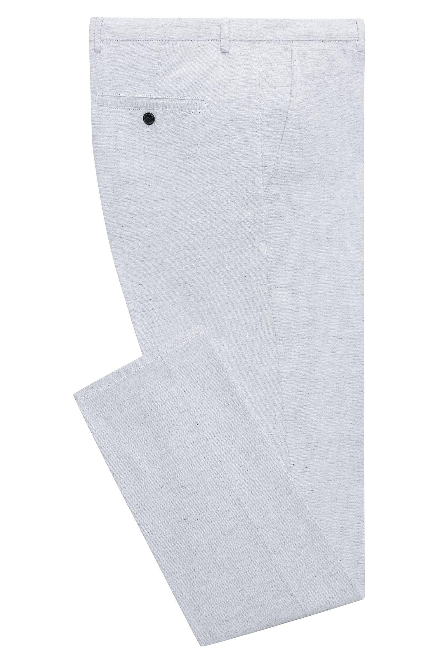 Pantalon Slim Fit teint, en coton avec une touche de lin