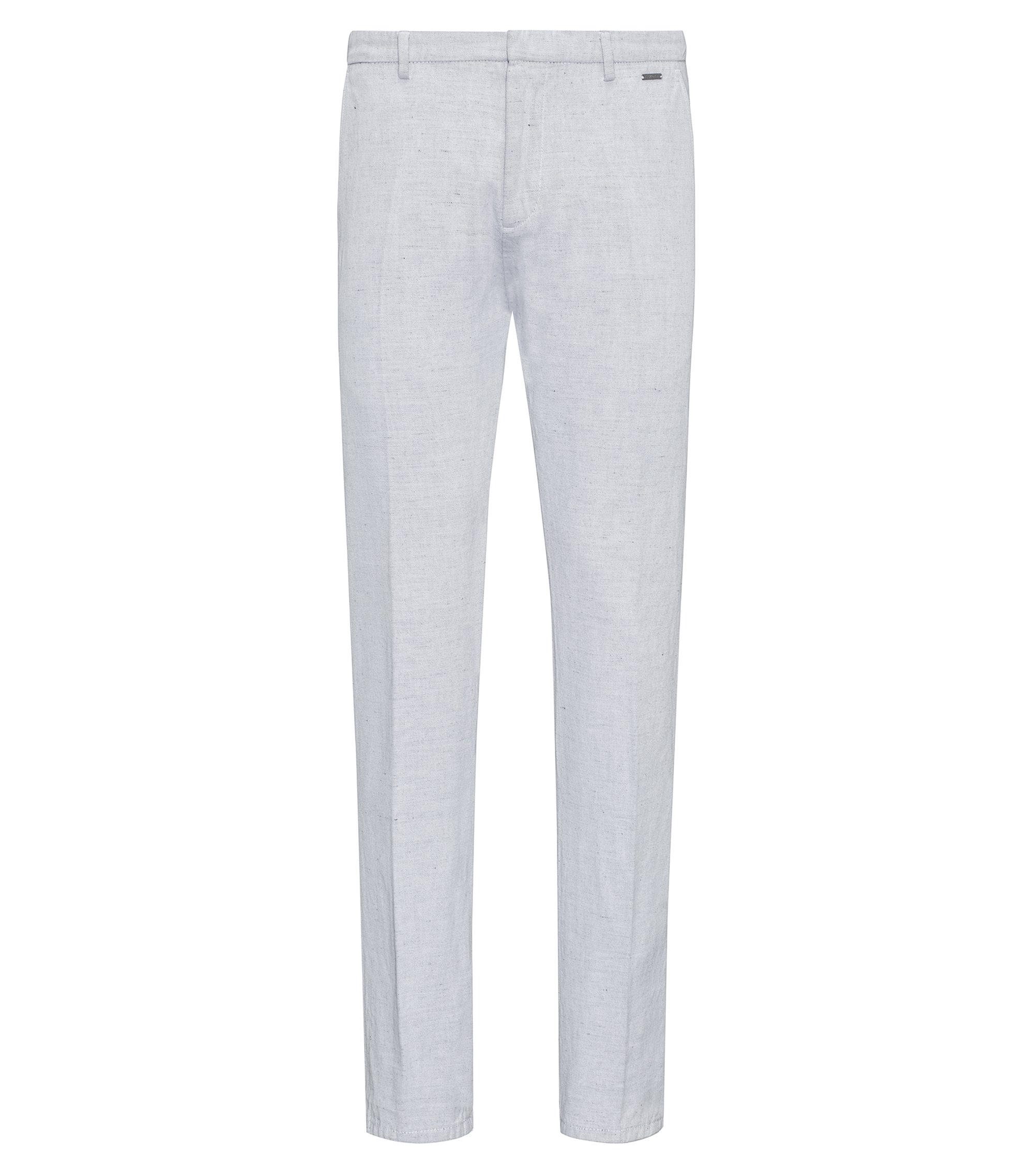 Dyed slim-fit trousers in cotton with a touch of linen, White
