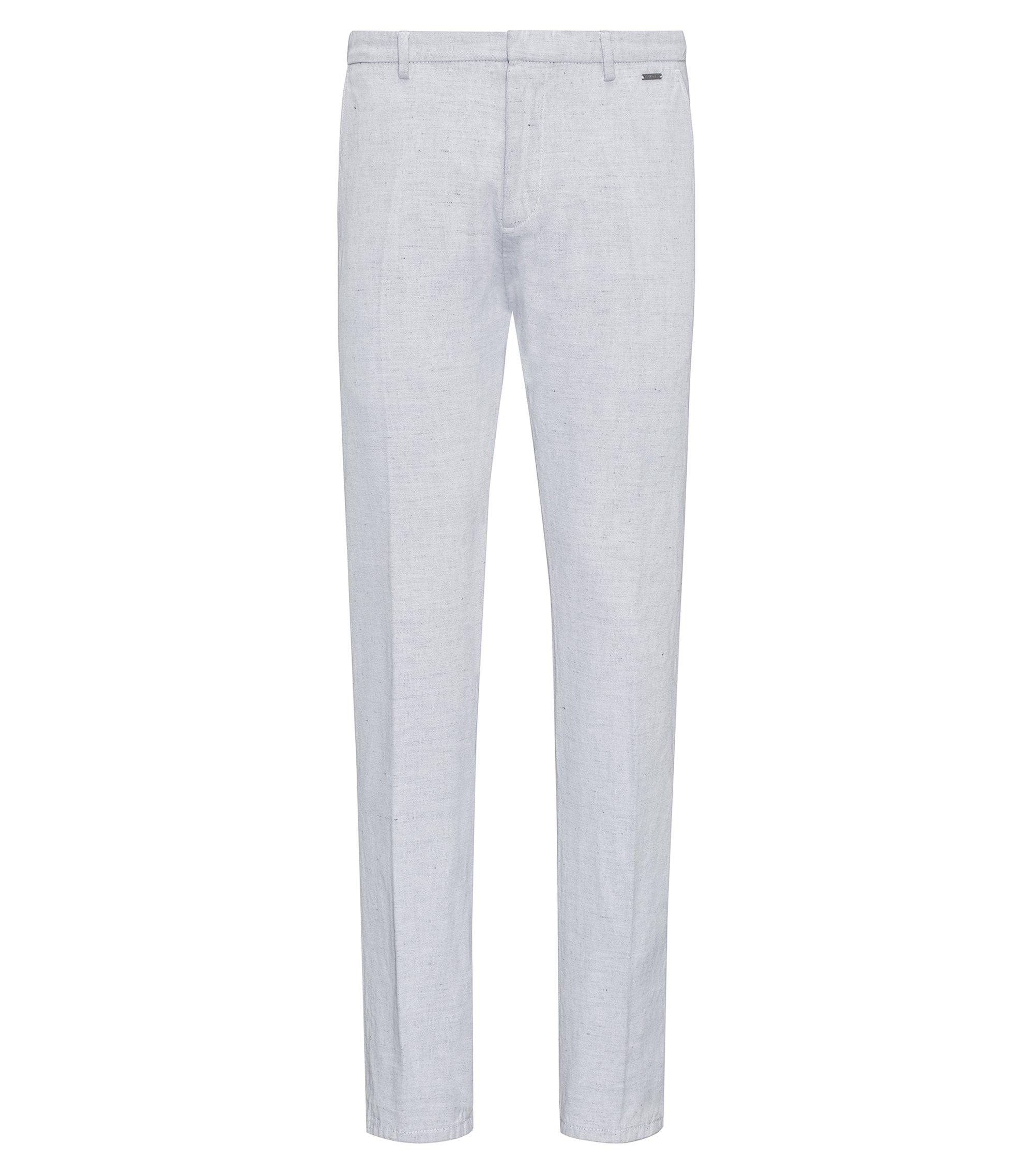 Pantalon Slim Fit teint, en coton avec une touche de lin, Blanc